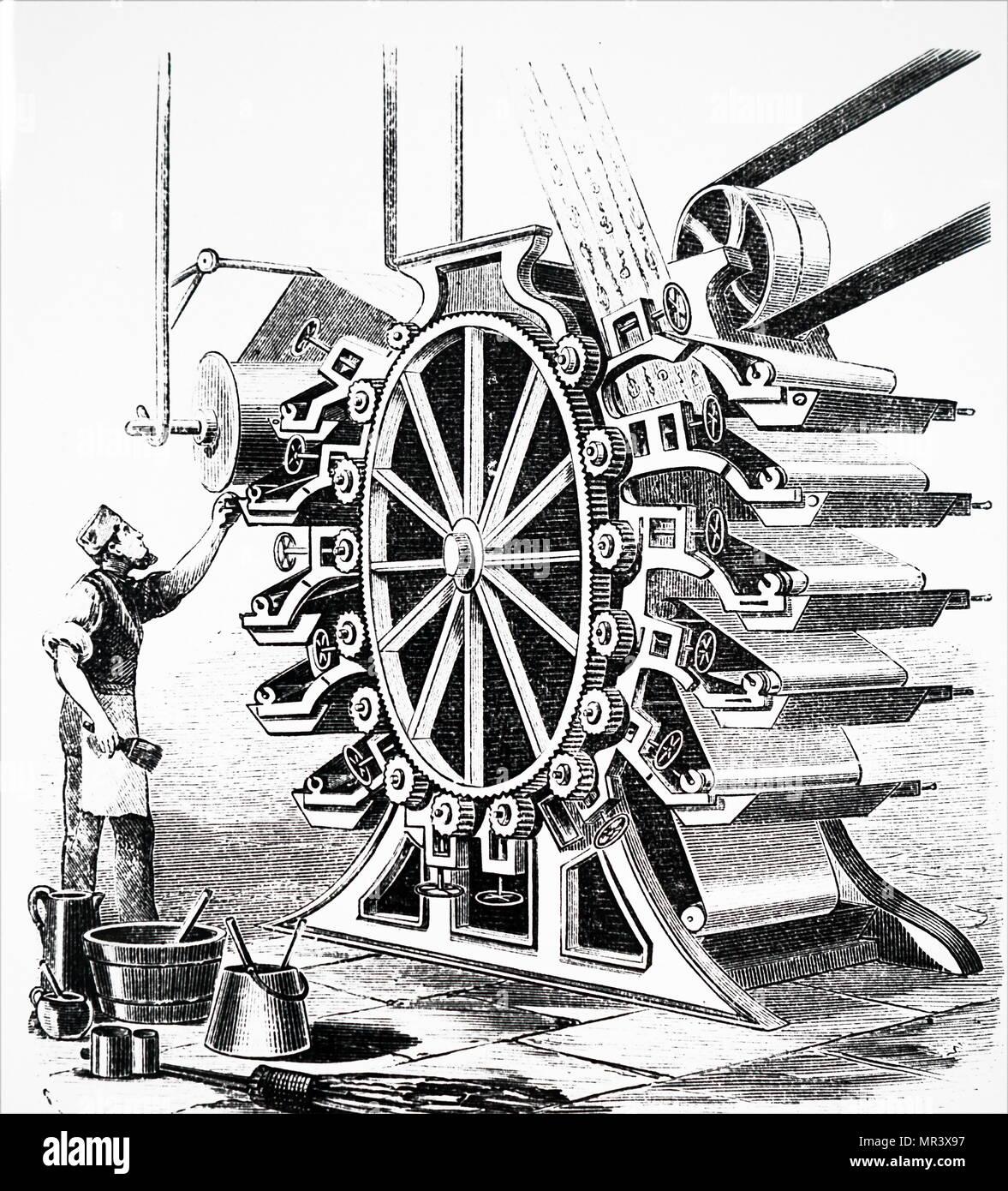 Illustrazione raffigurante una carta da parati macchina da stampa. Datata del XIX secolo Immagini Stock