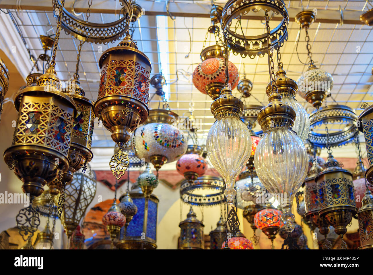 Tradizionali Orientali Lampade Colorate Lanterne Baku Azerbaigian