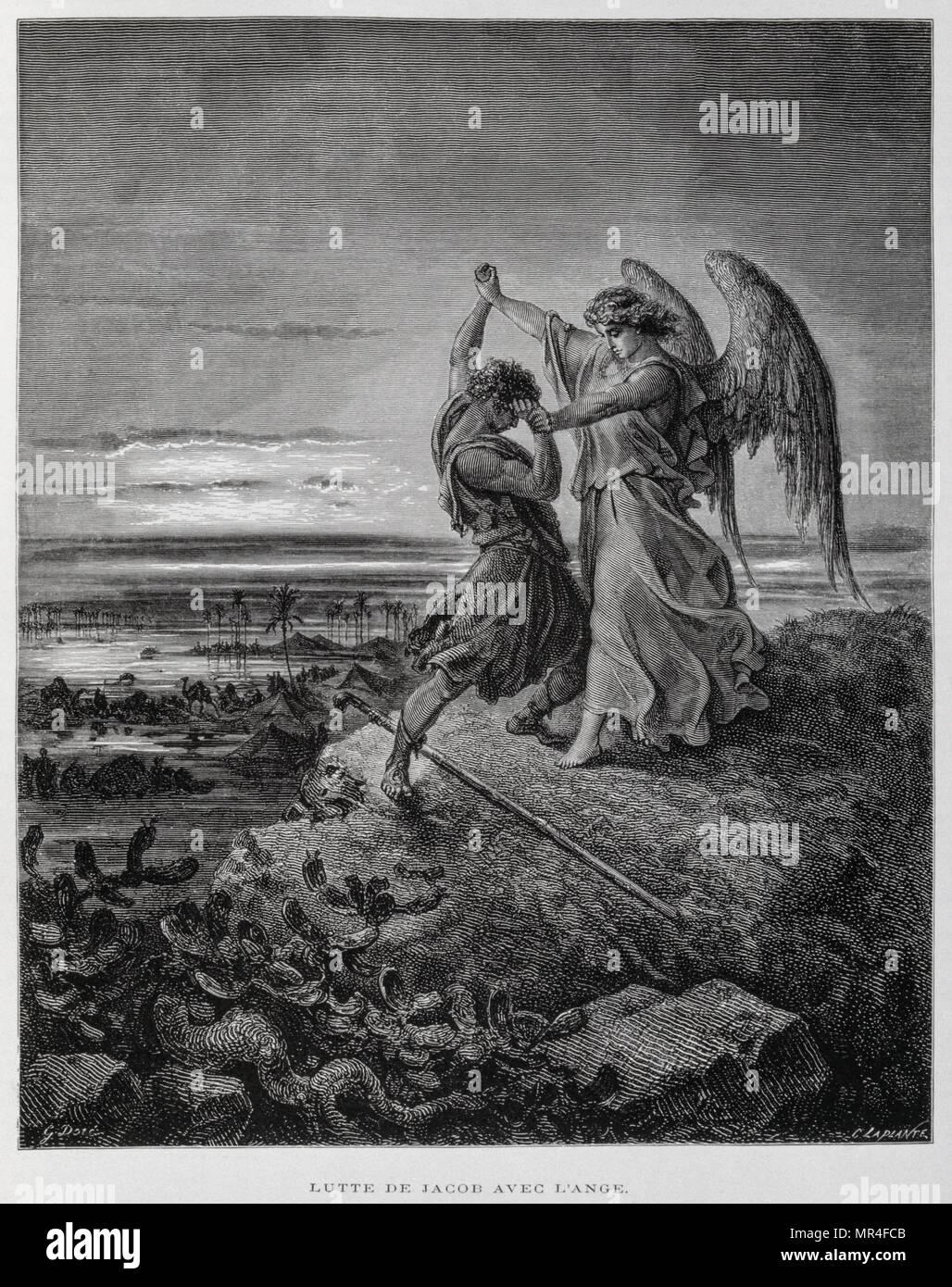 Jacob wrestling l'angelo, illustrazione dal Dore la Bibbia 1866. Nel 1866, l'artista francese e illustrator Gustave Dore (1832-1883), ha pubblicato una serie di 241 incisioni in legno per una nuova edizione deluxe del 1843 traduzione francese di Biblia Vulgata, popolarmente conosciuta come la Bibbia de Tours. Questa nuova edizione è stata conosciuta come La grande Bibbia de Tours e le sue illustrazioni sono state un grande successo. La discendenza di Giacobbe lotta con l'angelo si trova in Genesi 32:22-32 Immagini Stock