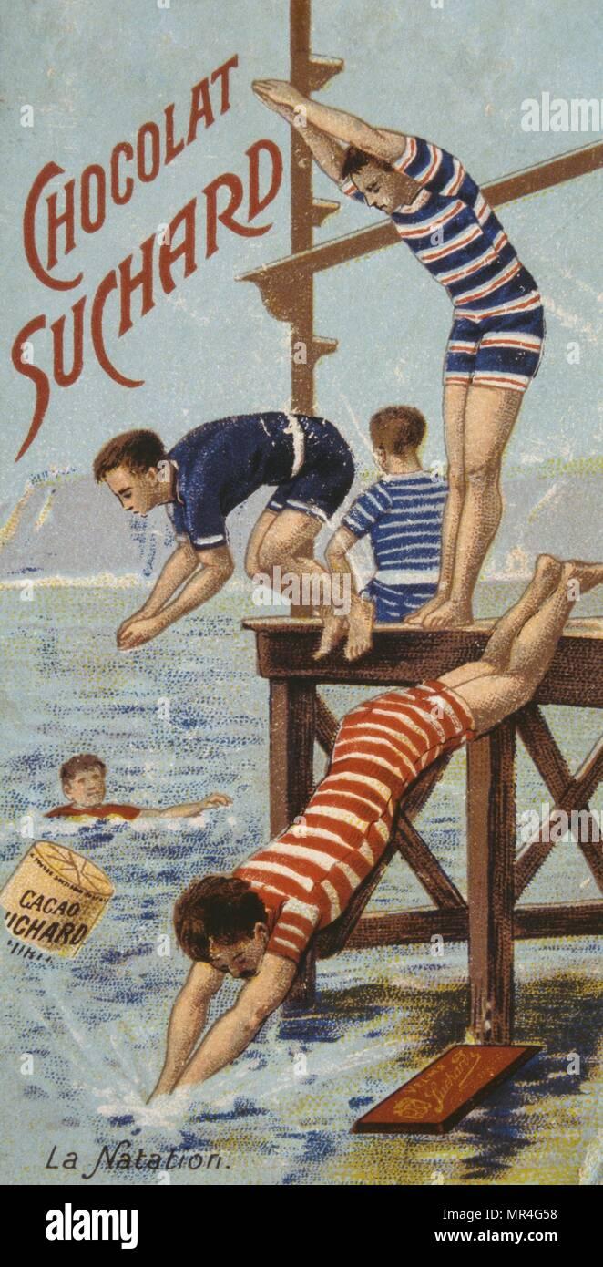 Cartolina francese per il cioccolato Suchard, datato circa 1900, mostrando i giovani uomini tuffarsi nel mare Foto Stock
