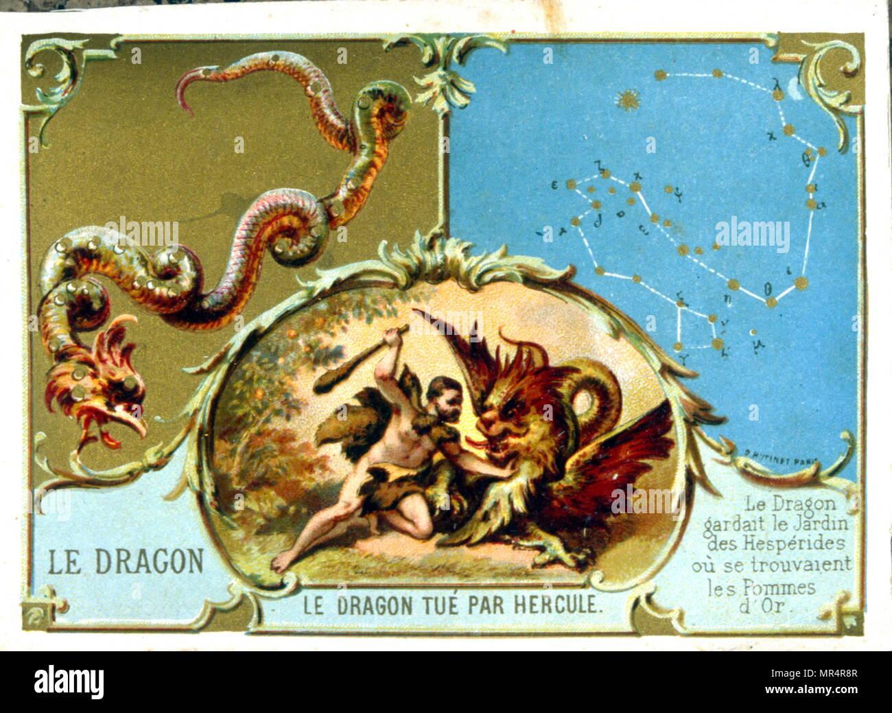 Chromolithograph francese che mostra la leggenda di Ercole che uccide il drago Immagini Stock