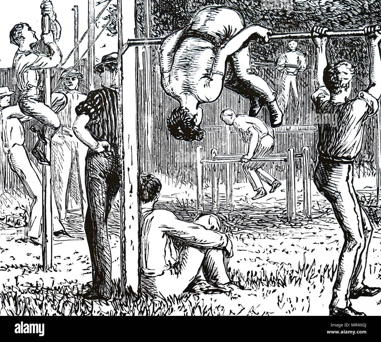 Illustrazione raffigurante i ragazzi a fare ginnastica. Datata del XIX secolo Immagini Stock