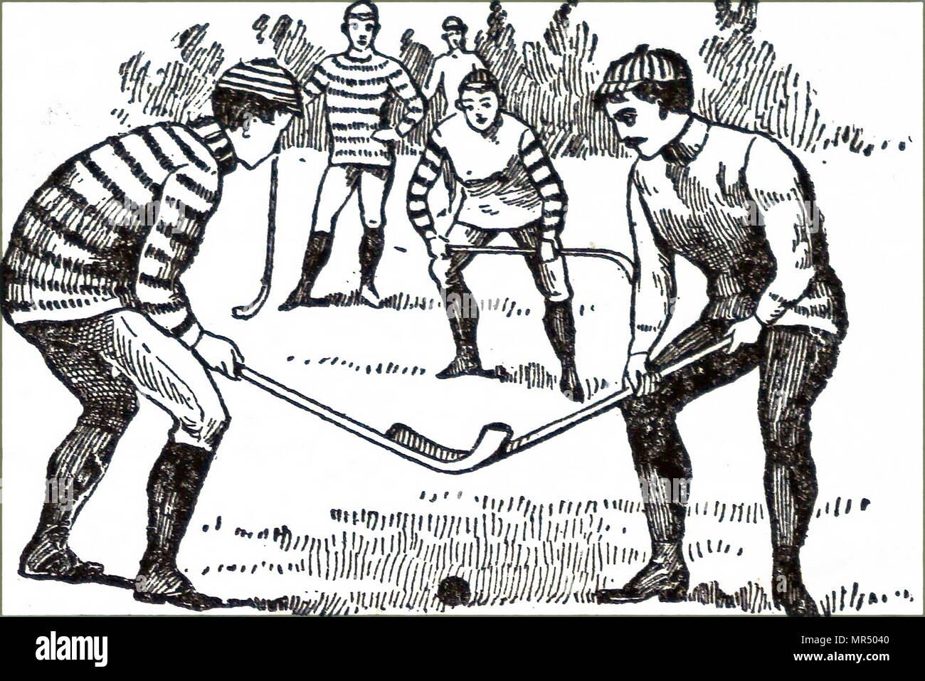 Illustrazione raffigurante Uomini giocando una partita di hockey su prato. In data xx secolo Immagini Stock