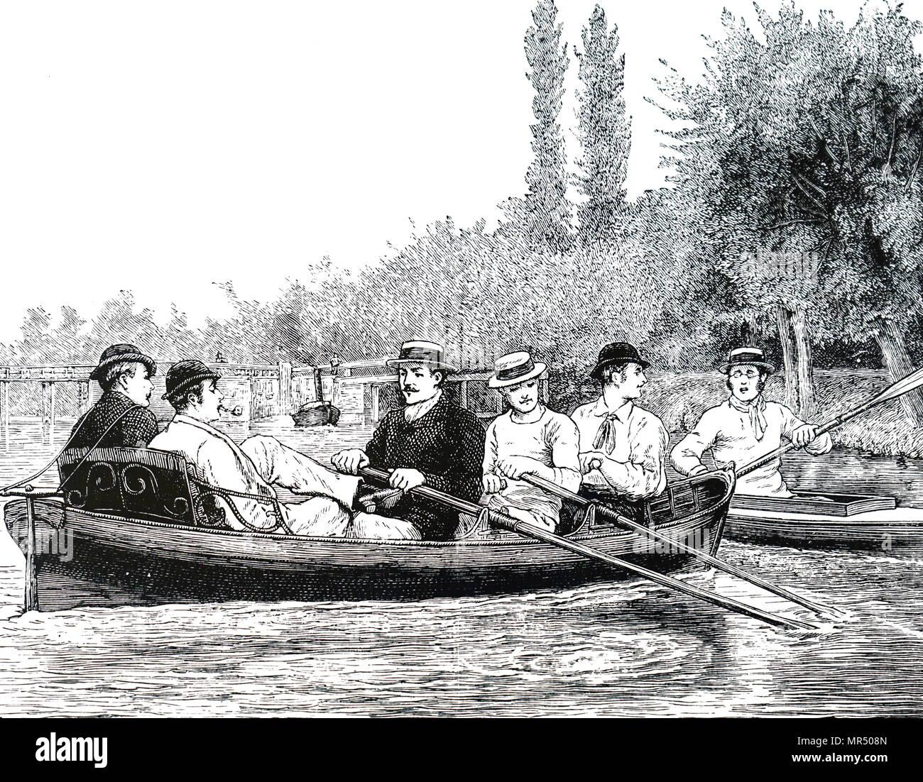 Illustrazione raffigurante Oxford University gli studenti canottaggio sul fiume Iffley. Datata del XIX secolo Immagini Stock