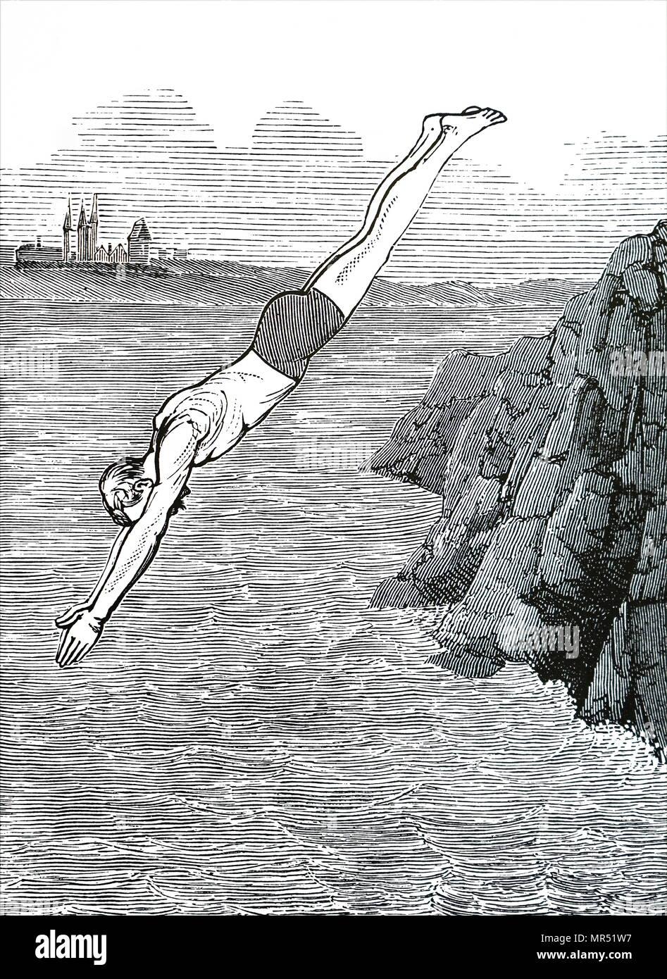 Cartoon raffigurante un uomo tuffarsi nel mare. Datata del XIX secolo Foto Stock