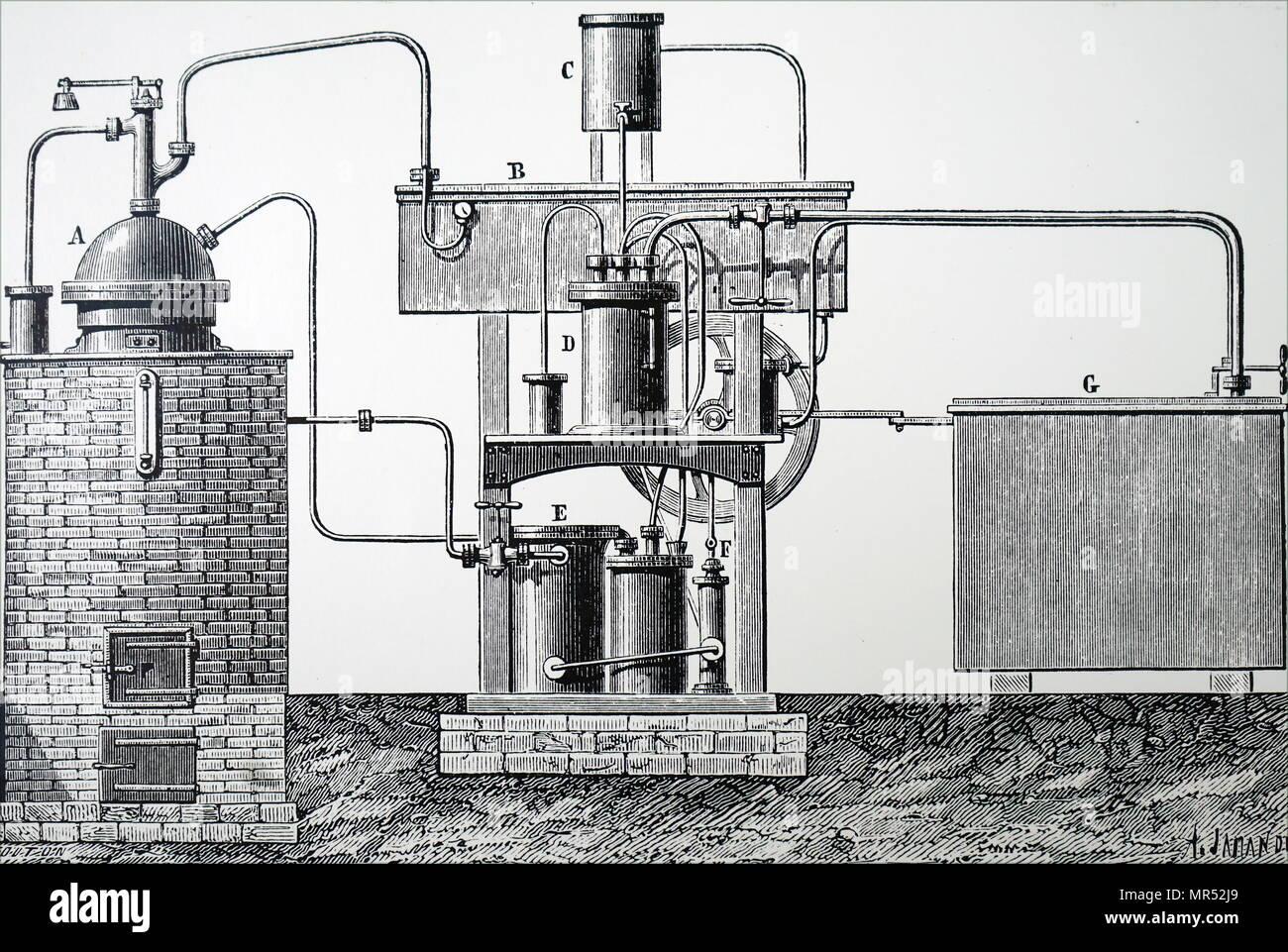 Illustrazione raffigurante Edmond Carré di apparecchiatura per la produzione in grande scala di ghiaccio. Datata del XIX secolo Immagini Stock