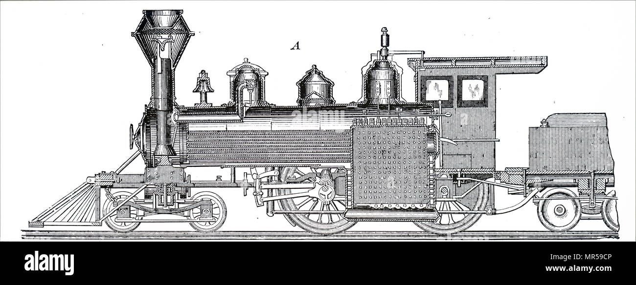 Incisione raffigurante una sezione longitudinale centrale di una locomotiva di locomotiva Baldwin funziona, Philadelphia. Datata del XIX secolo Immagini Stock