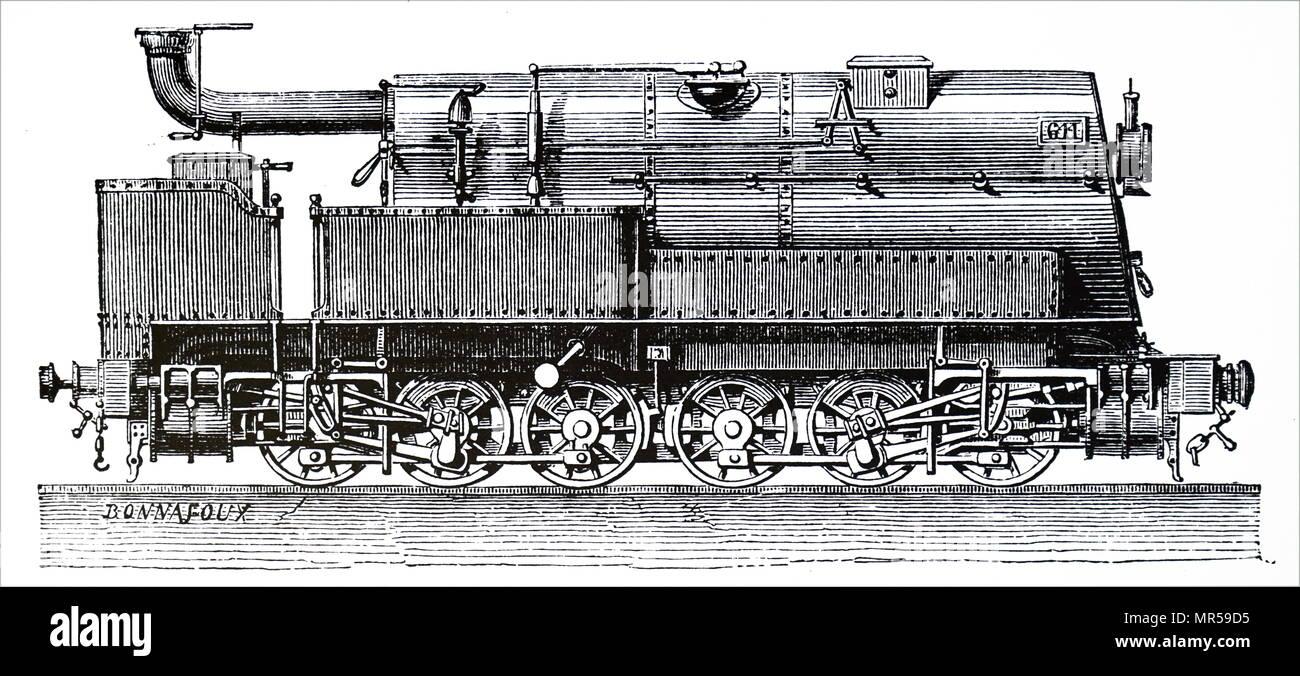 Incisione raffigurante una merce motore utilizzato dal francese Ligne a causa Nord. Datata del XIX secolo Immagini Stock