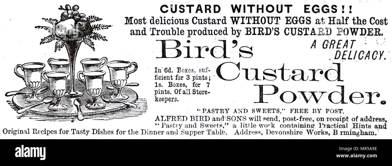 Pubblicità per Bird la crema pasticcera, il nome del marchio per la polvere originale, uovo-libera imitazione crema pasticcera in polvere. Datata del XIX secolo Immagini Stock
