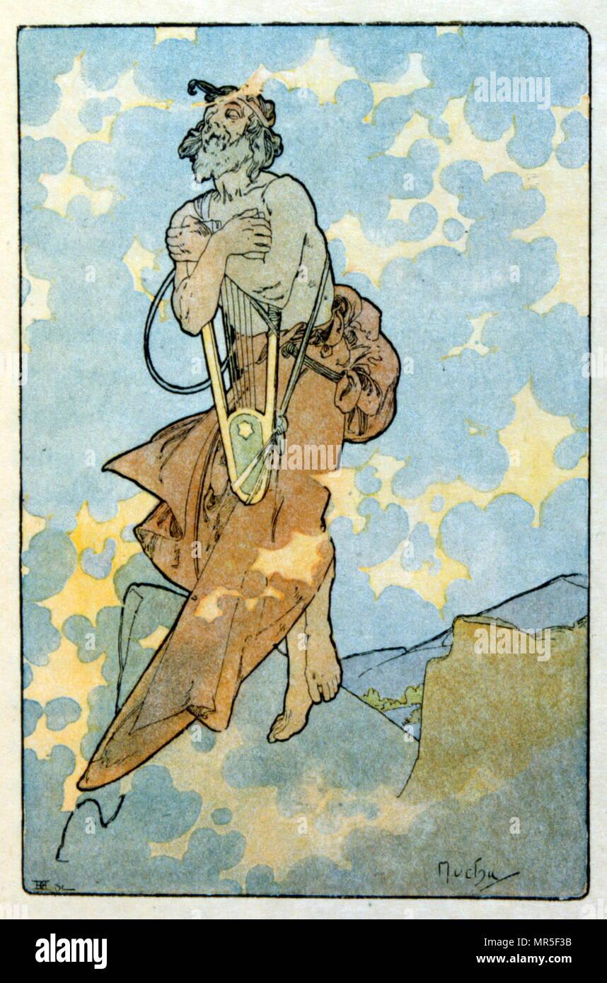"""Illustrazione di Alphonse Mucha da """"Clio"""" opera di autore francese Anatole France; 1900. Mucha (1860 - 1939); era un ceco di Art Nouveau pittore Immagini Stock"""