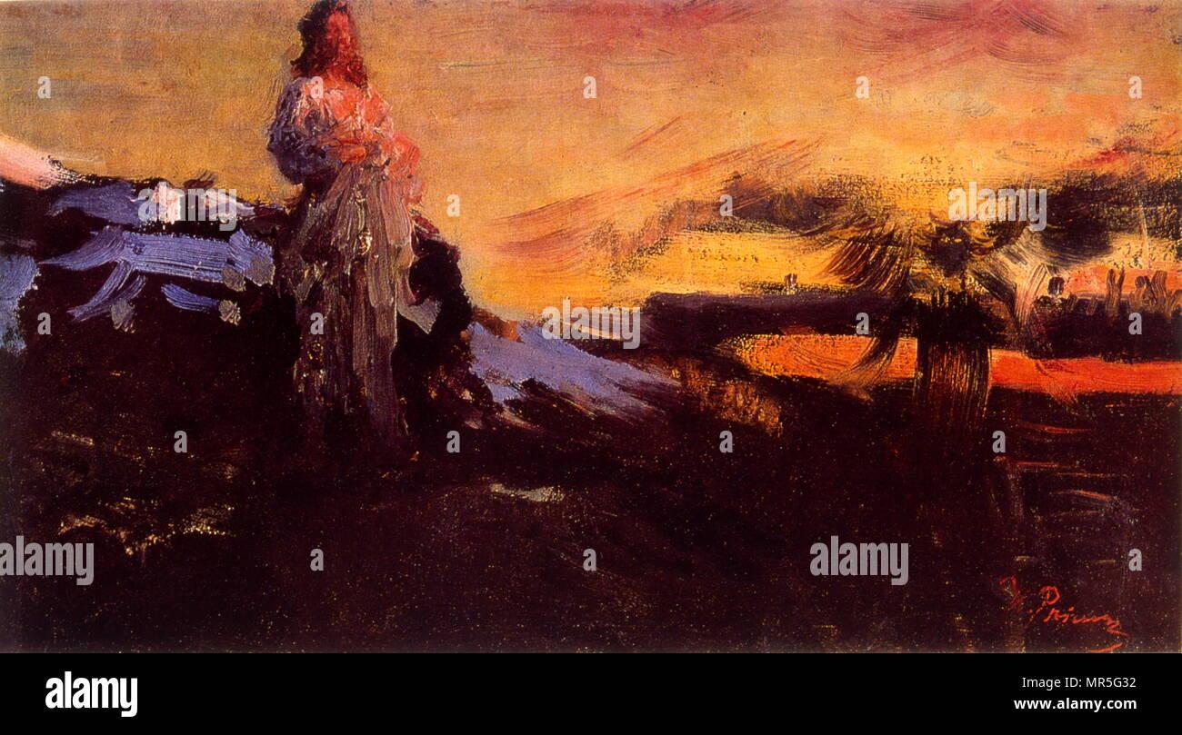 """Follow me, Satana"""" 1895, da Ilya Repine, (1844-1930); pittore russo. olio su tela Immagini Stock"""