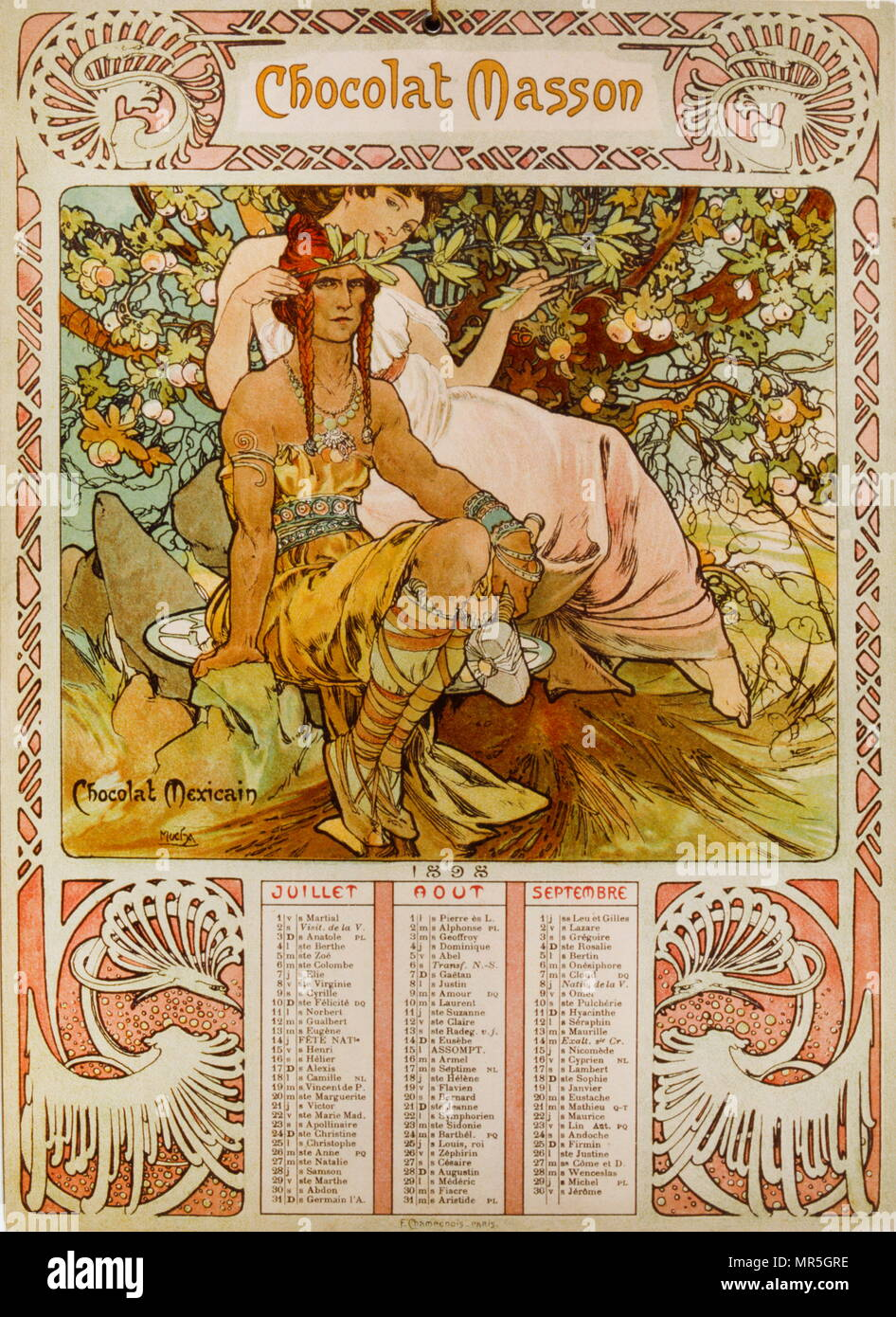 Il cioccolato Masson calendario illustrato da Mucha (1860 - 1939); un ceco di Art Nouveau pittore Immagini Stock