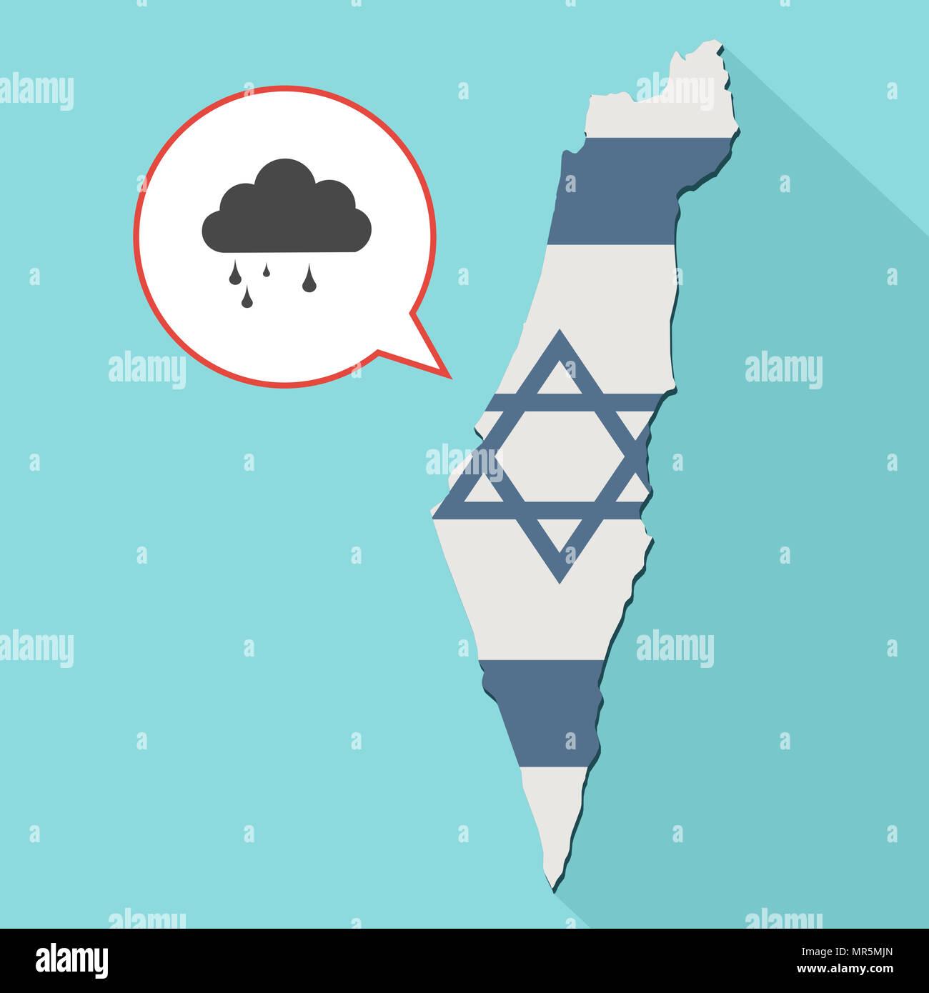 Illustrazione di una lunga ombra Israele mappa con la sua bandiera e un palloncino di fumetti con una nube e pioggia Immagini Stock
