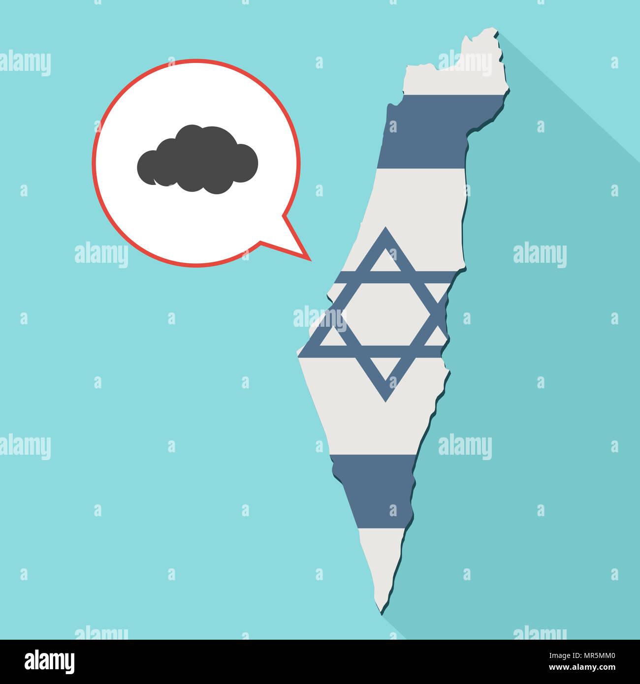 Illustrazione di una lunga ombra Israele mappa con la sua bandiera e un palloncino di fumetti con una nuvola Immagini Stock