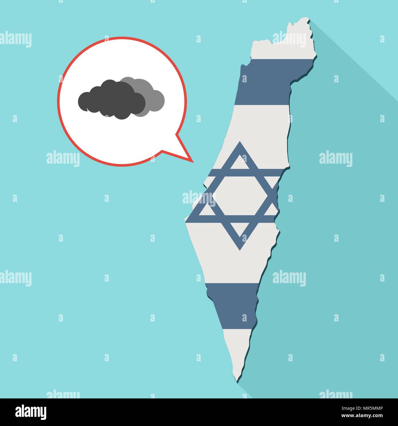 Illustrazione di una lunga ombra Israele mappa con la sua bandiera e un palloncino di fumetti con un nuvole Immagini Stock