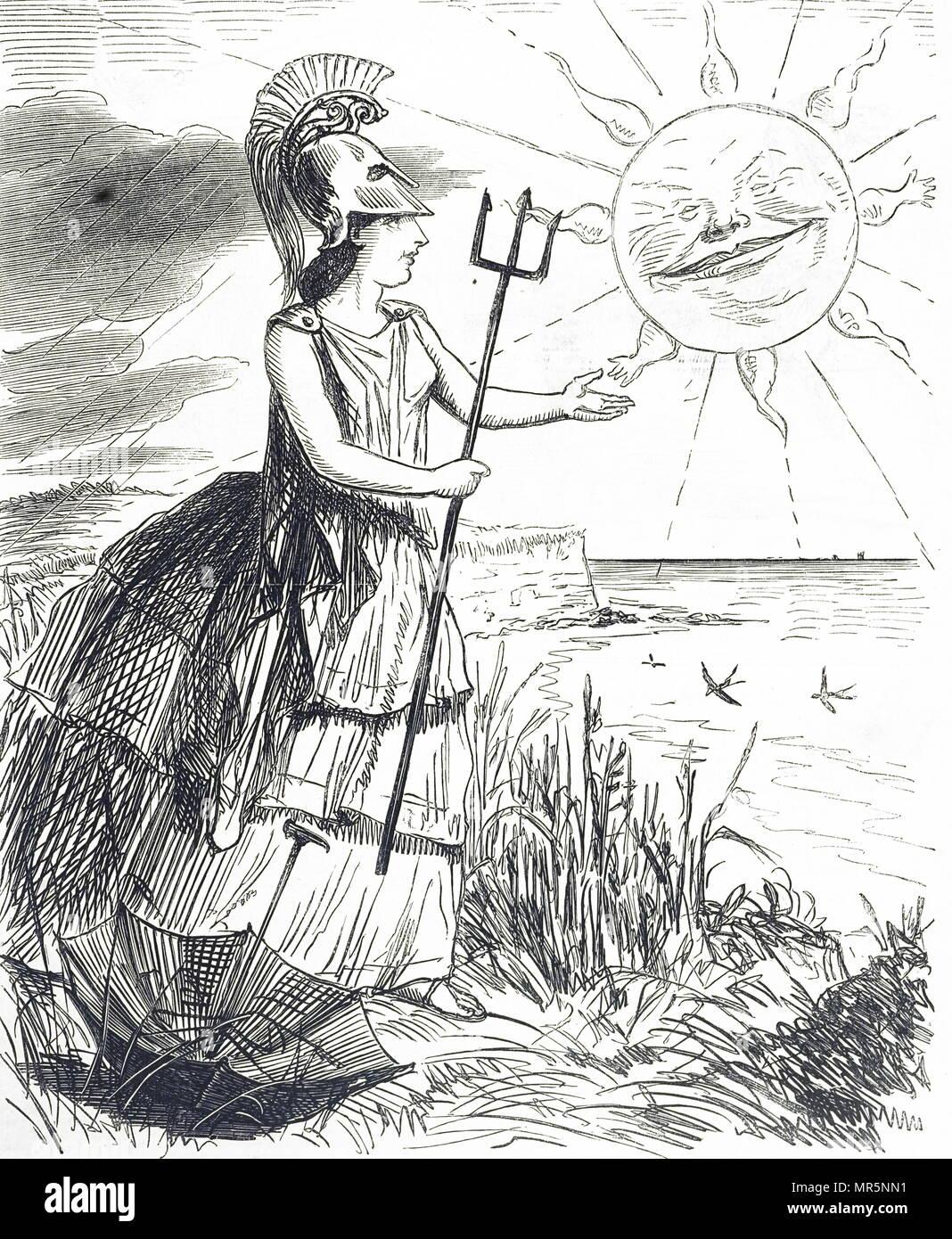 Cartoon raffiguranti Britannia durante una brutta estate in Gran Bretagna. Datata del XIX secolo Immagini Stock