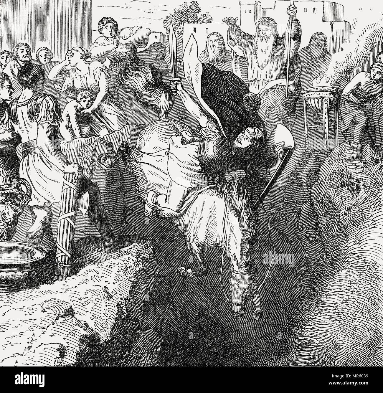 La morte sacrificale di Marcus Curtius, Antica Roma Immagini Stock