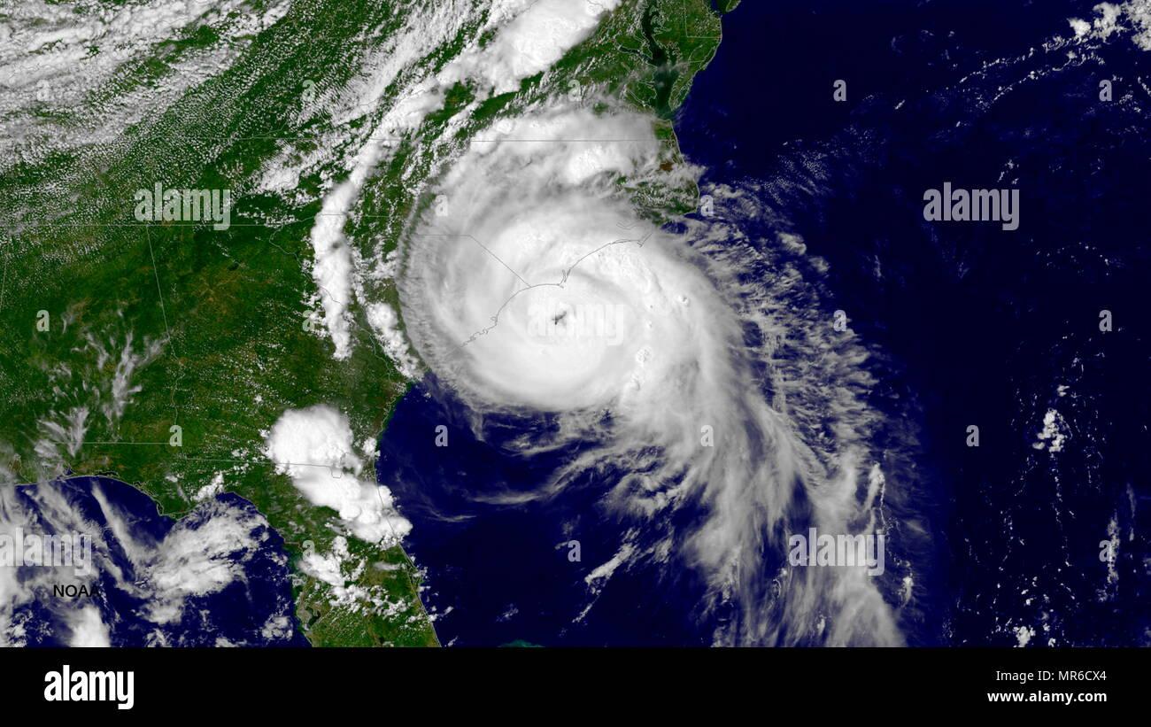 Satellite NOAA immagine dell uragano Arthur, 3 Luglio 2014 Immagini Stock