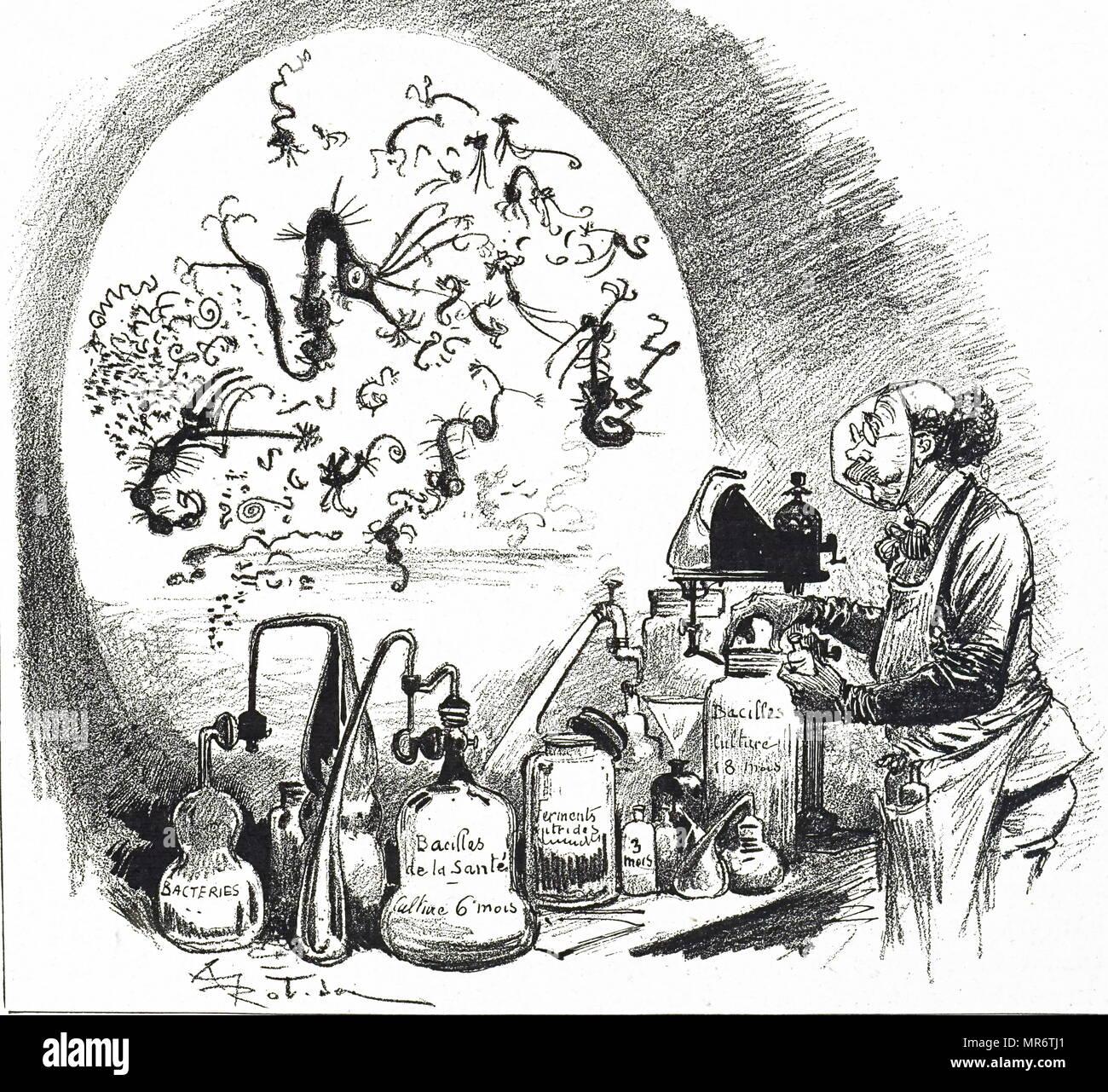Cartoon raffigurante un ingegnere biologico nel suo laboratorio . Datata del XIX secolo Immagini Stock