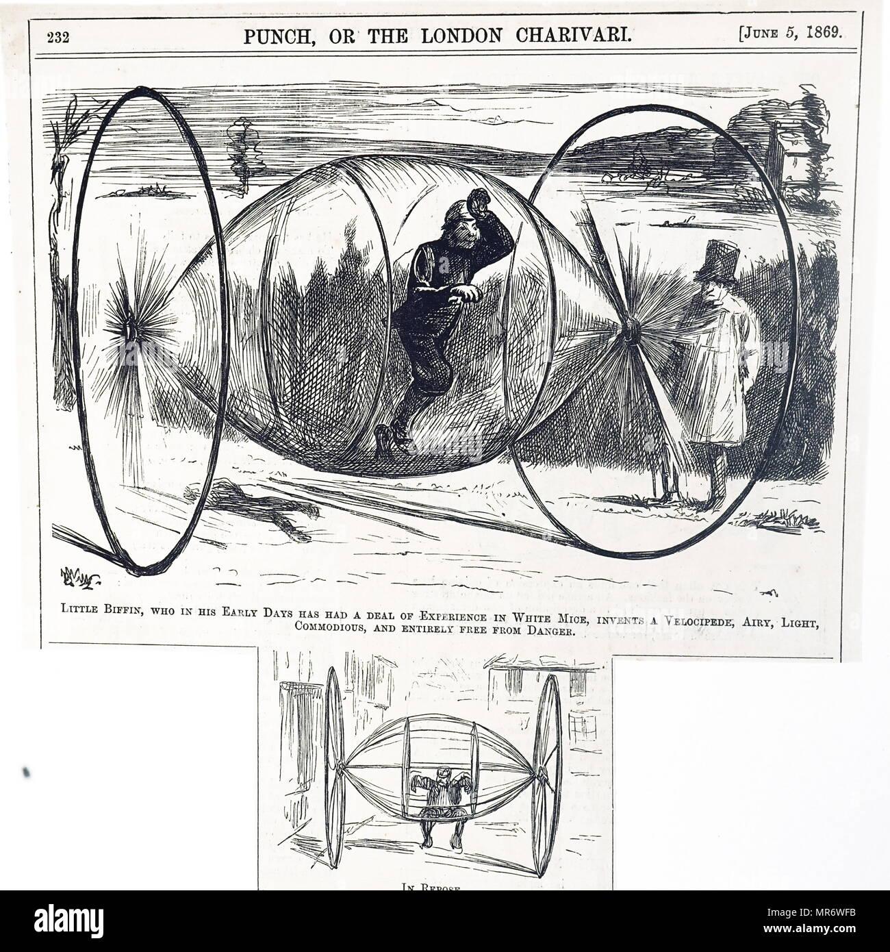 Cartoon commentando ancora un altro geniale design per una bicicletta. Datata del XIX secolo Immagini Stock