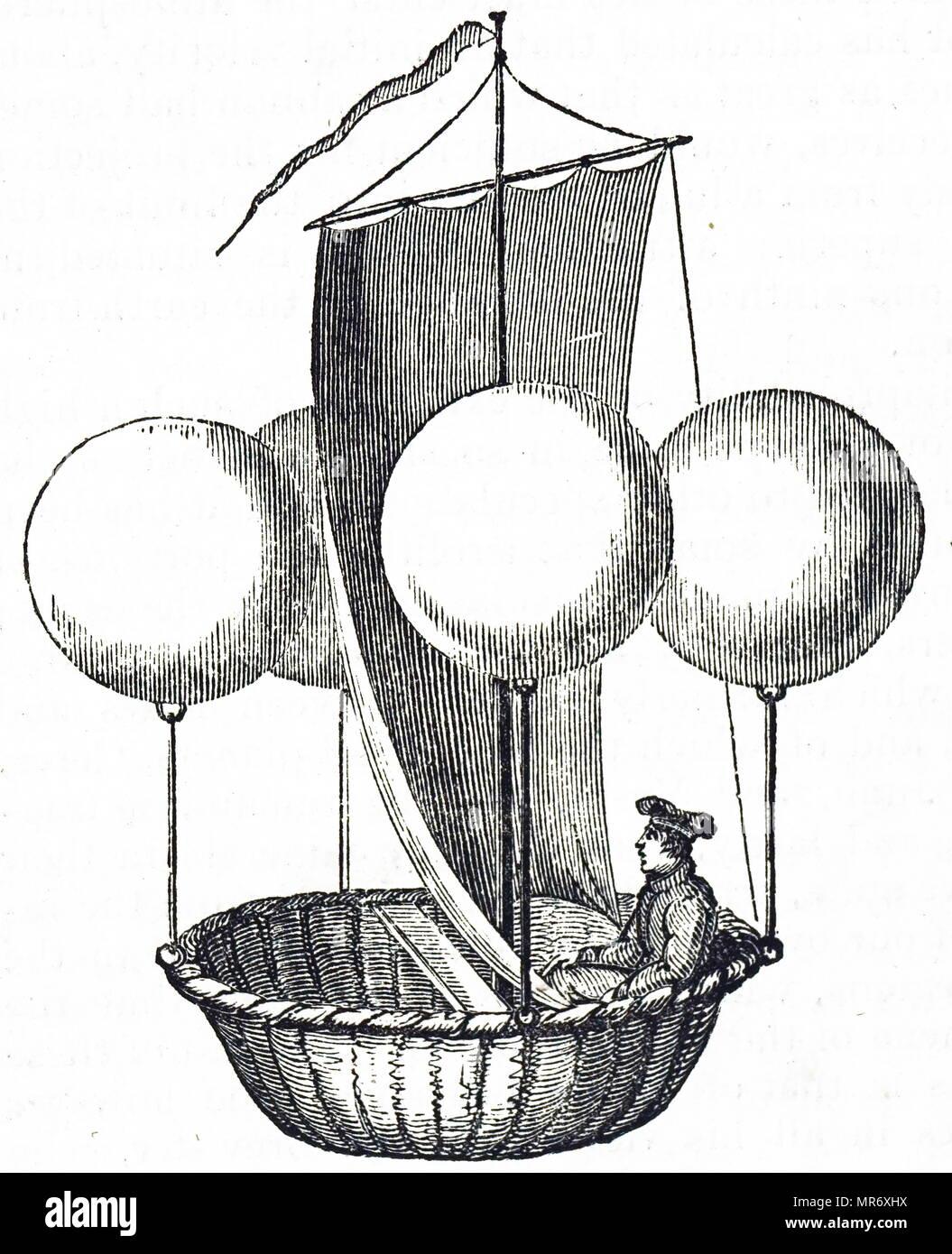 Incisione raffigurante Francesco Lana de Terzi nel suo flying boat concetto. Francesco Lana de Terzi (1631-1687) un italiano sacerdote gesuita, Matematico, naturalista e aeronautica Pioneer. Datata del XIX secolo Immagini Stock