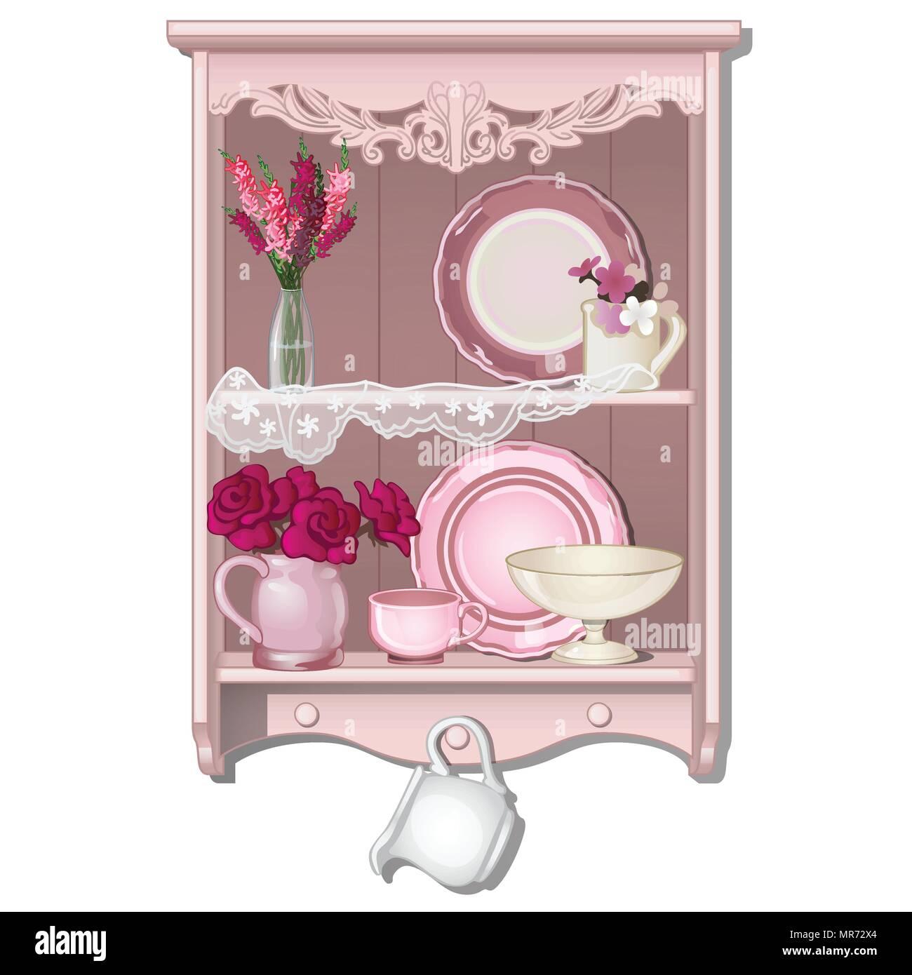 Mensola da cucina con piatti e fiori. Illustrazione ...