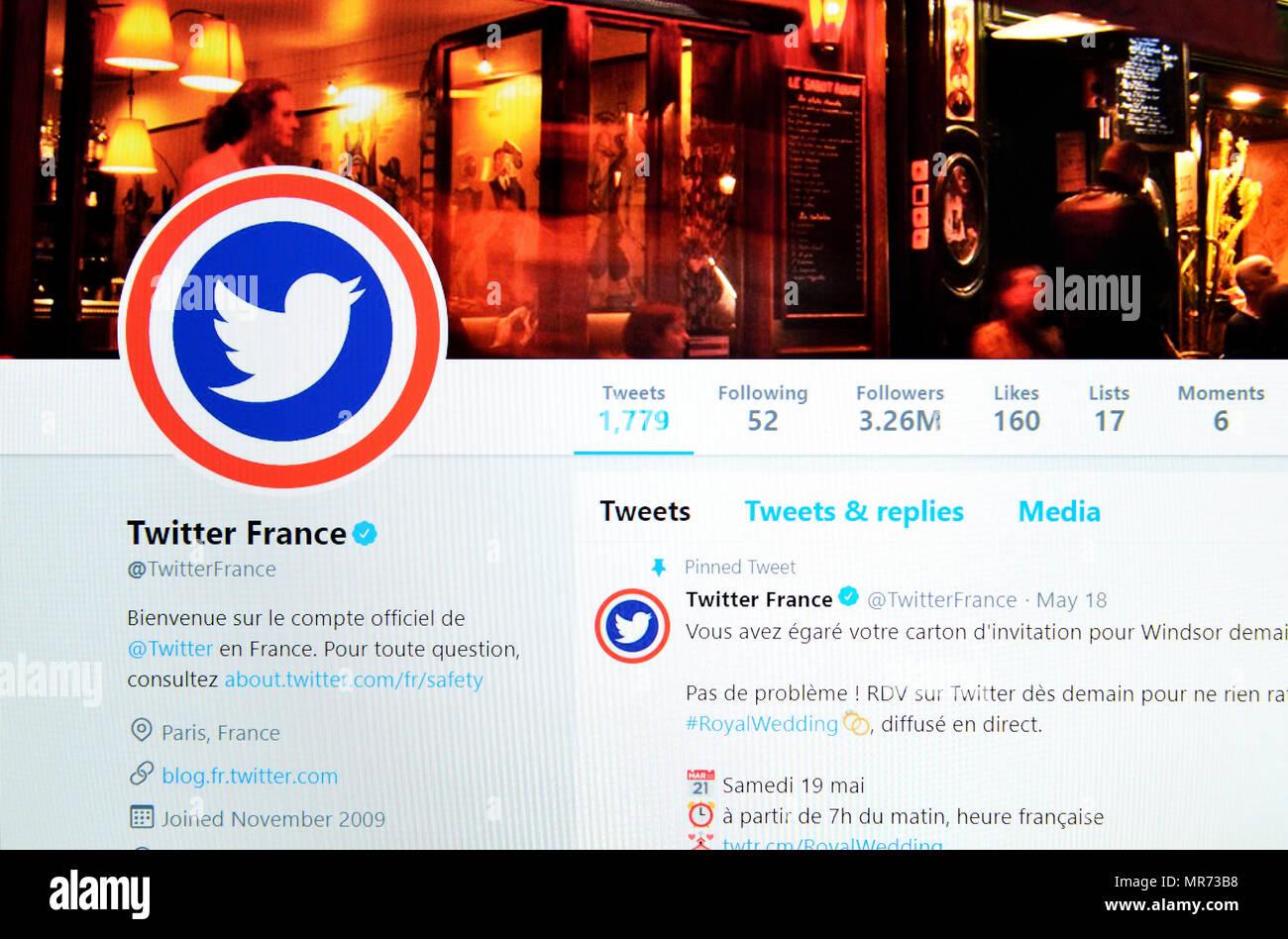 Ufficiali francesi account Twitter Twitter pagina (2018) Immagini Stock 97f2264f9756