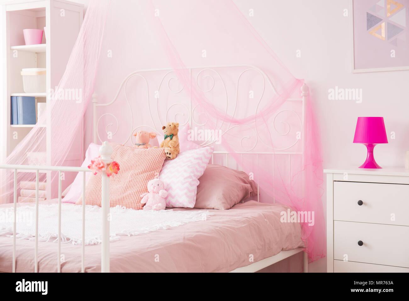 Letto A Baldacchino Rosa.Ragazza Perfetta Camera Rosa Con Letto A Baldacchino E Como Bianco