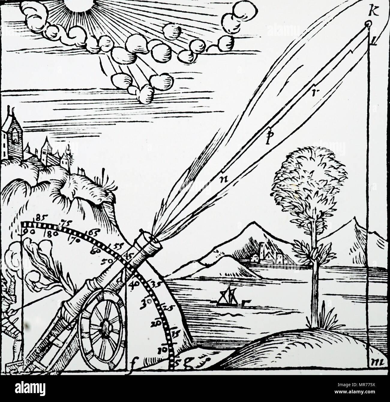 Illustrazione della nozione aristotelica della traiettoria di un proiettile. Aristotele (384 BC-322 BC) un antico filosofo greco e lo scienziato. Datata xvi secolo Immagini Stock