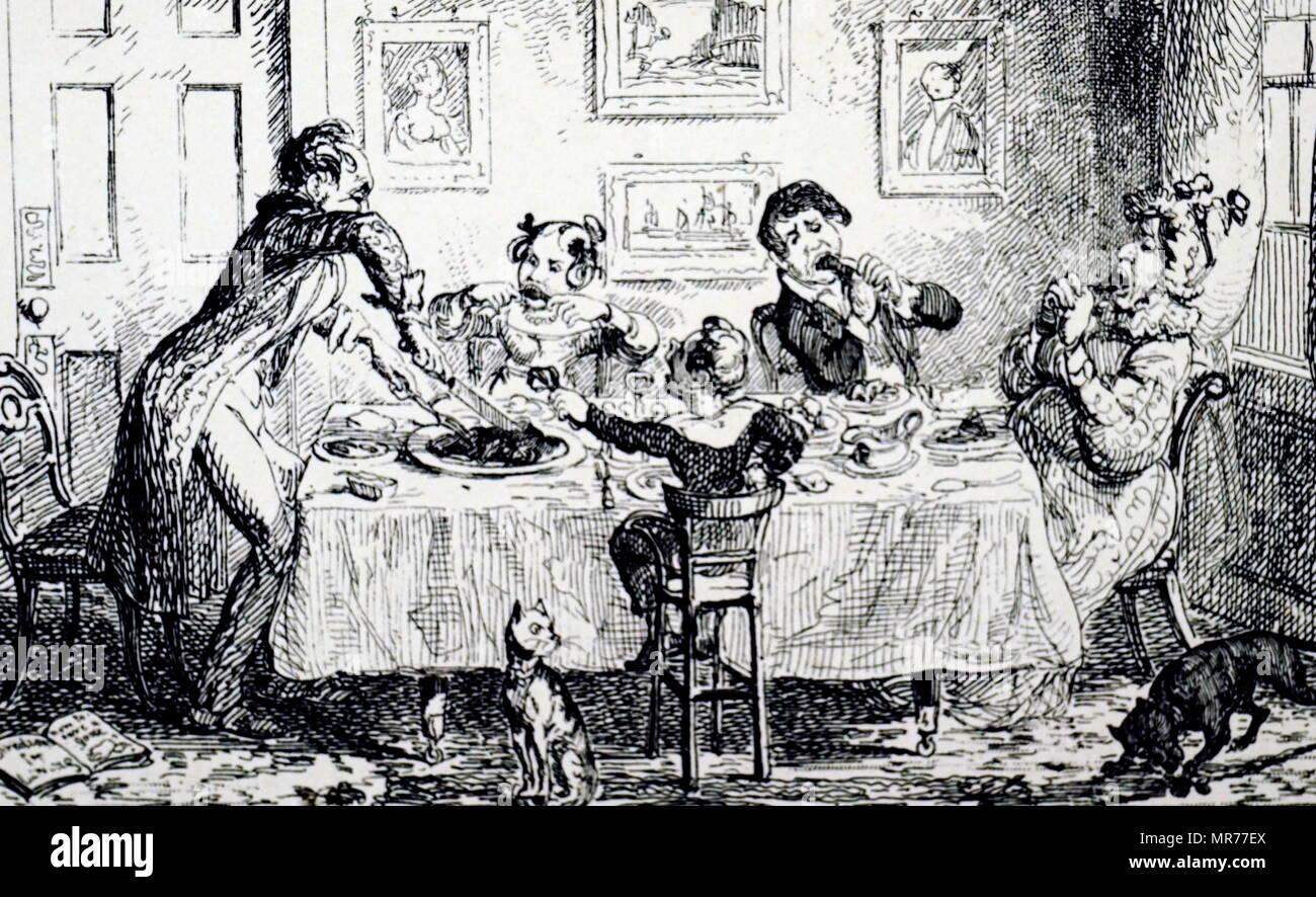 Cartoon raffigurante un caotico tavolo per la colazione scena. Illustrato da George Cruikshank (1792-1878) Un caricaturista britannico e illustratore di libri. Datata del XIX secolo Immagini Stock