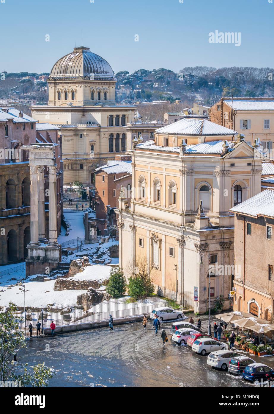Neve A Roma Nel Febbraio 2018 Una Pittoresca Vista Dalla
