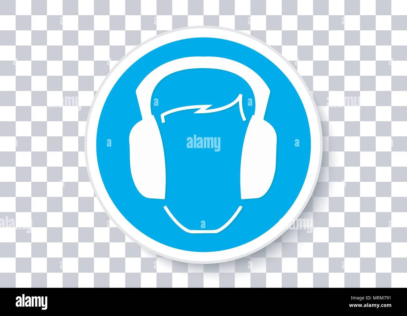 Il design del vettore di orecchio i dispositivi di protezione devono essere usurati Immagini Stock