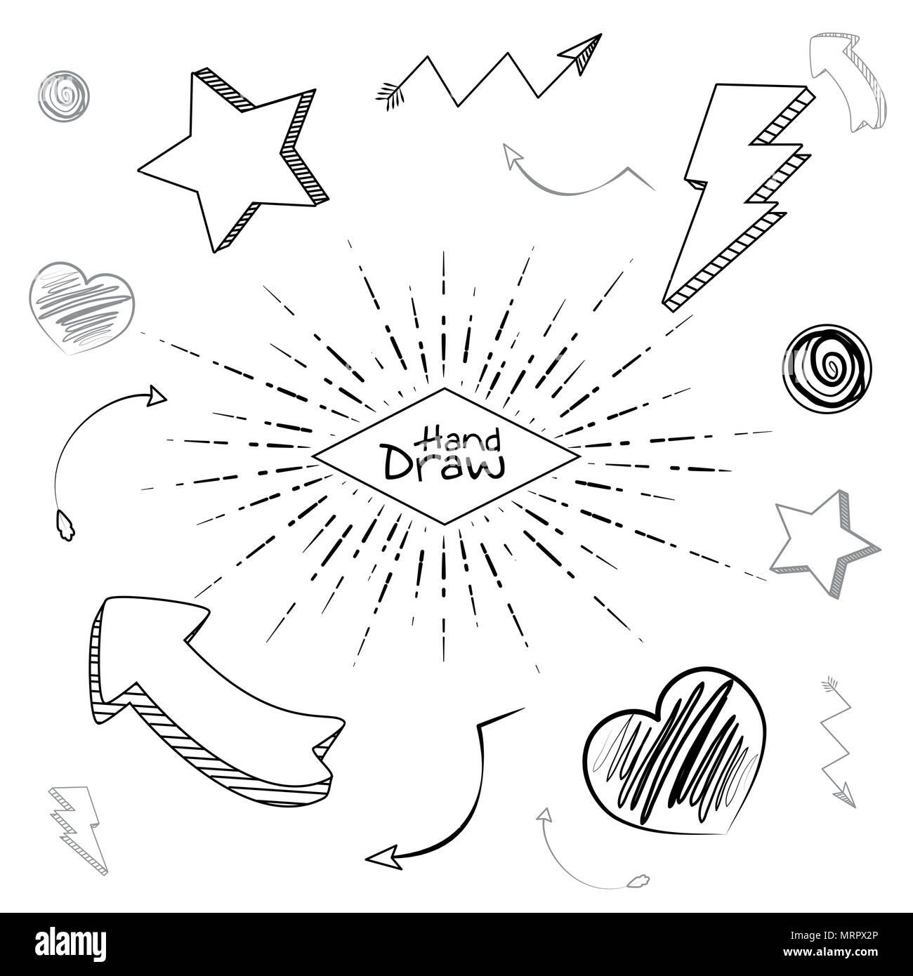 Mano disegnare forme e cartoni animati Immagini Stock