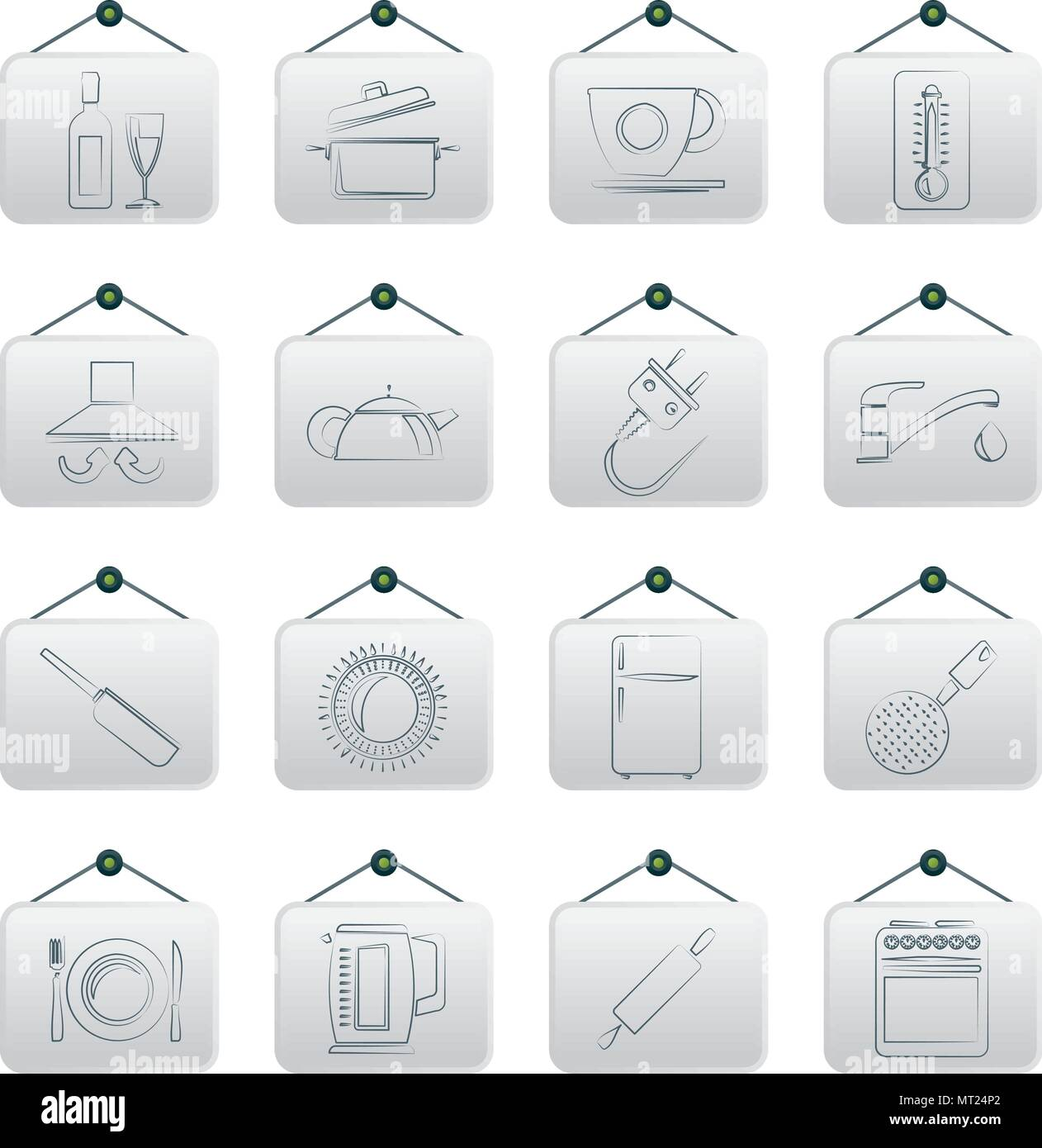Gli oggetti da cucina e accessori icone- vector icon set ...
