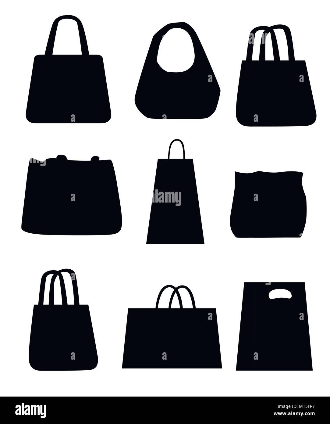 borsa, donna, silhouette, moda, nero
