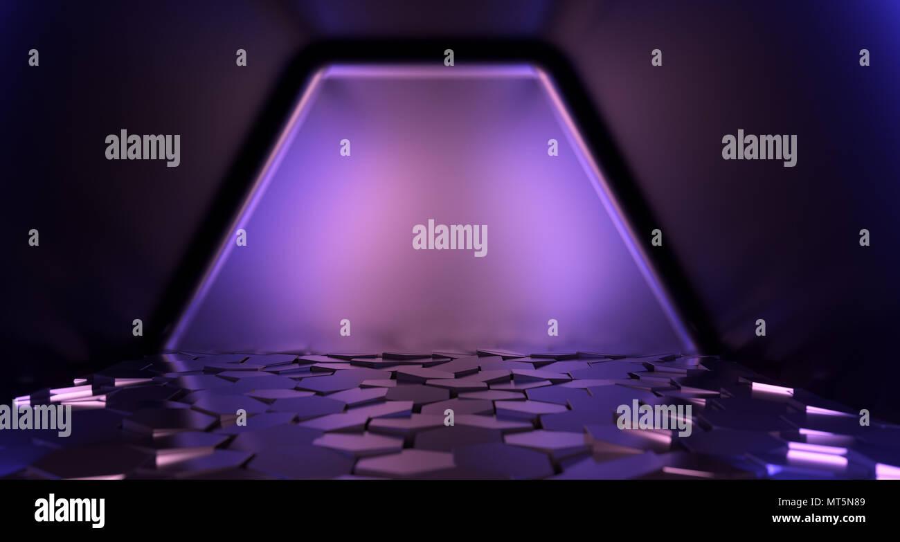 Realistico sci fi camera con mattonelle esagonali closeup e