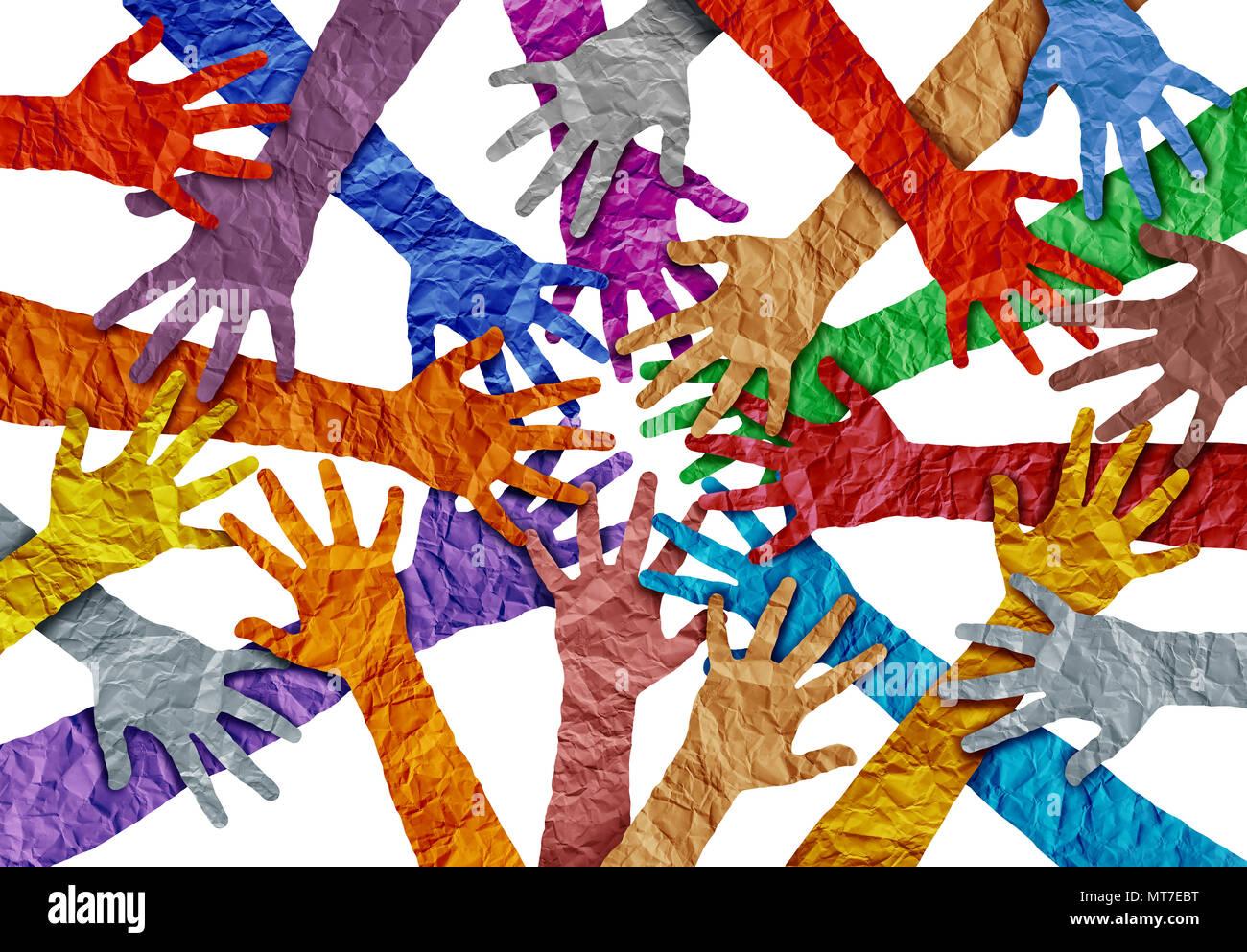Concetto di diversità e la folla simbolo di cooperazione come diverse mani tenendo insieme in un 3D illustrazione dello stile. Immagini Stock