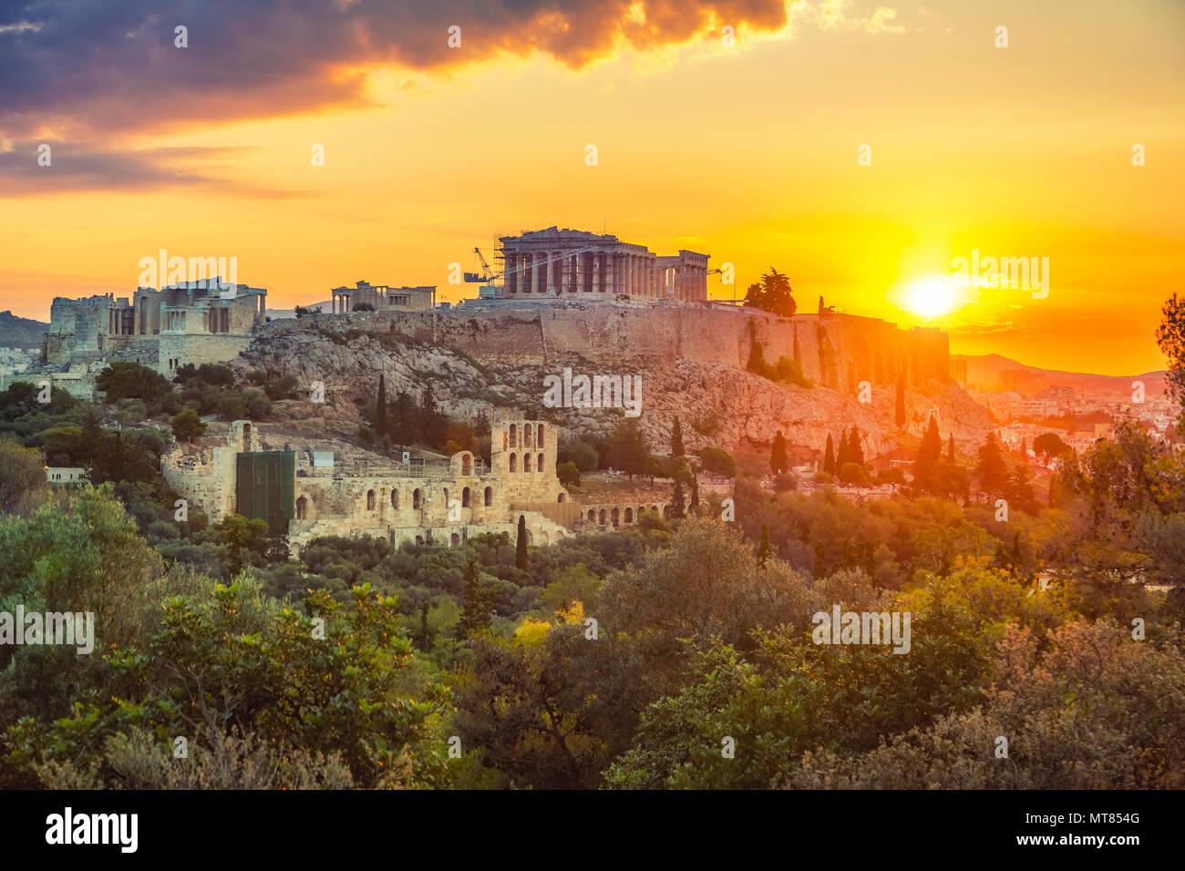 Alba sul Partenone, dall'Acropoli di Atene, Grecia Immagini Stock