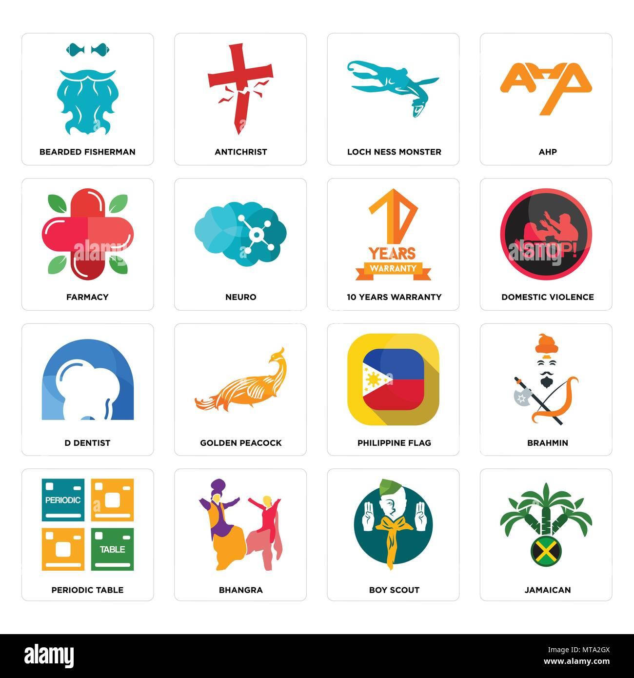 Set di 16 semplici icone modificabili quali giamaicano boy scout bhangra tavola periodica - Tavola periodica in inglese ...
