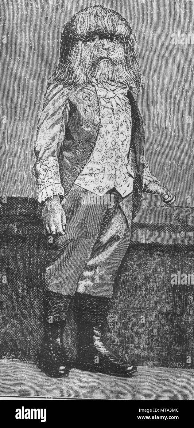 Boy-lion. Vintage illustrazioni incise. Pubblicato nella rivista nel 1900. Immagini Stock
