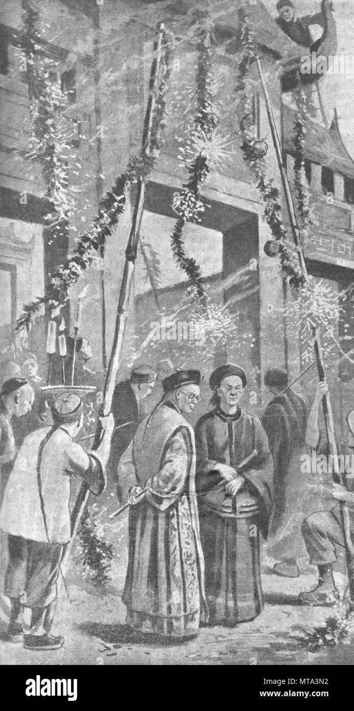 Cina. Celebrazione.Vintage illustrazioni incise. Pubblicato nella rivista nel 1900. Immagini Stock