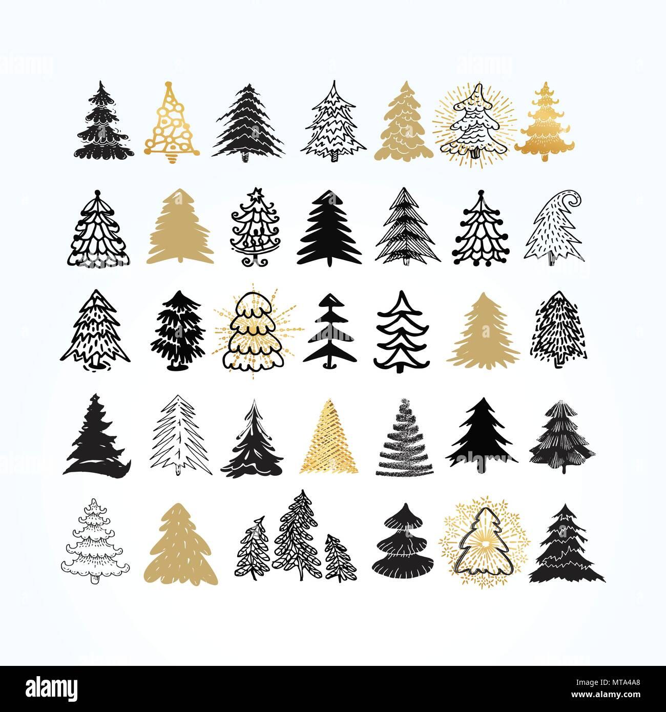 Set Di Diversi Eleganti Alberi Di Natale Elementi Di Disegno