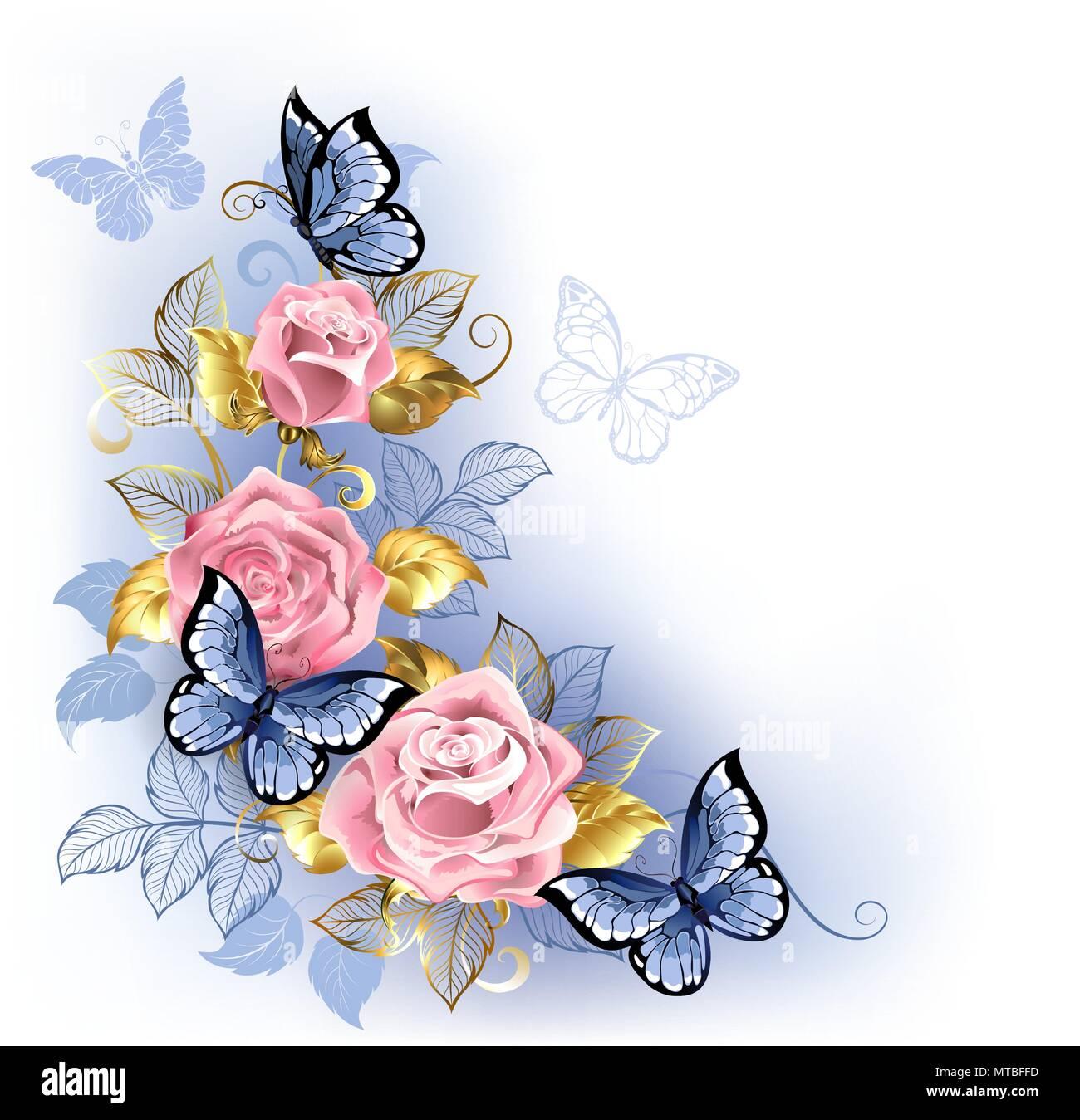 Tre Rose Rosa Con Blu E Oro Foglie Con Farfalle Blu Seduta Su Di