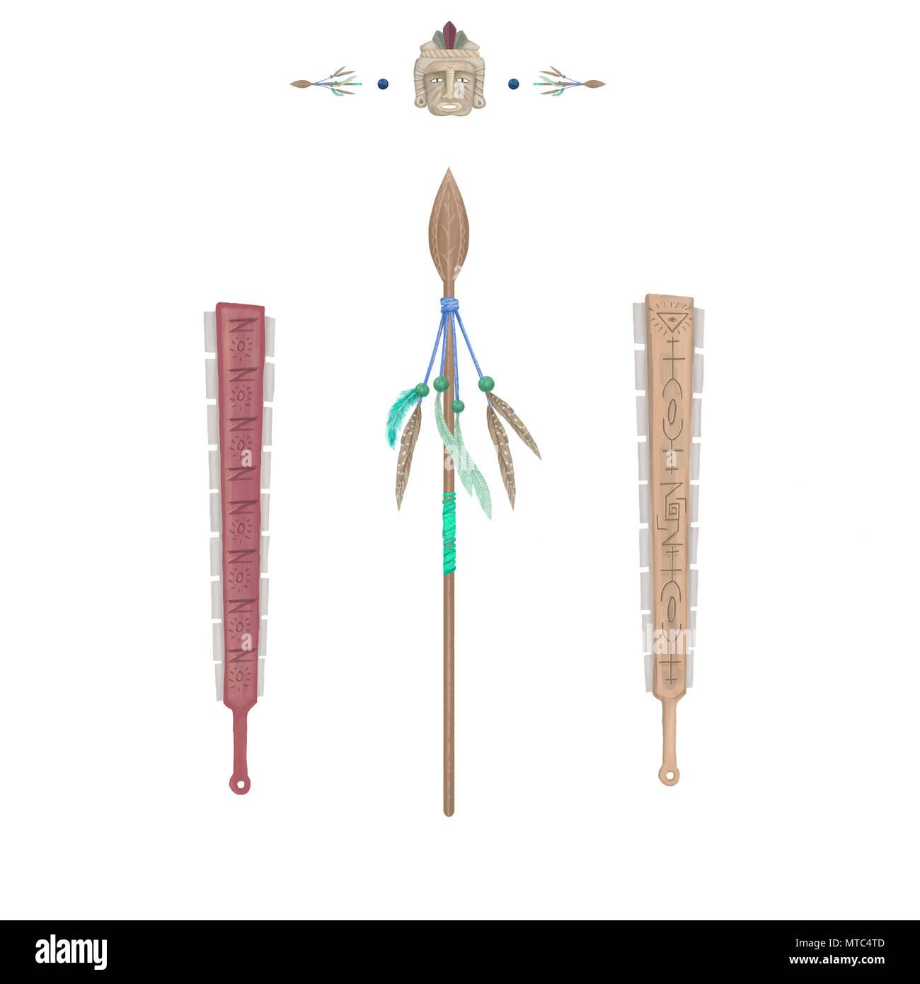 Lancia le armi con le piume clip art illustrazione tribale disegno digitale indiani attrezzo su sfondo bianco Immagini Stock