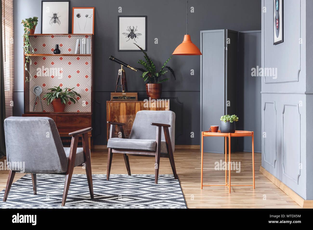 Pareti Grigie Salotto : Due poltrone arancio tavolino piante armadi in legno e pareti