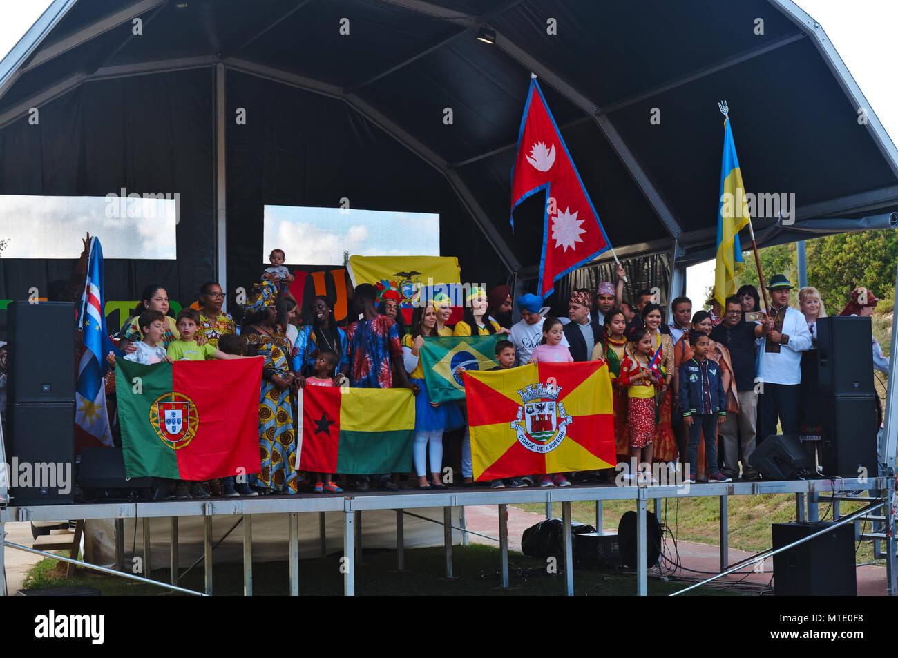 IV Encontro multiculturale (incontro multiculturale) in Albufeira Algarve. Maggio 25th, 2018 Immagini Stock