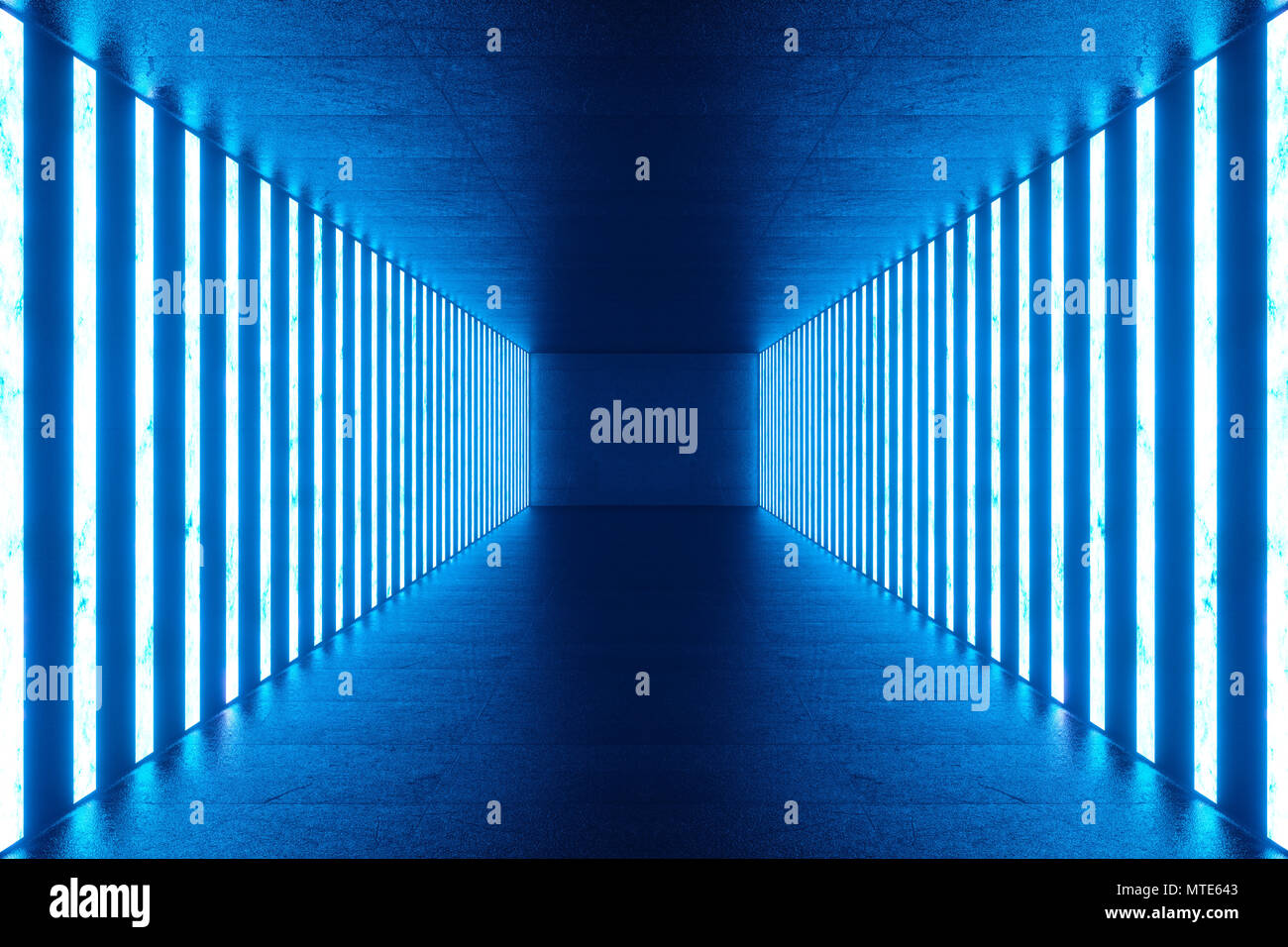 D rendering abstract blue room interno con blu lampade al neon