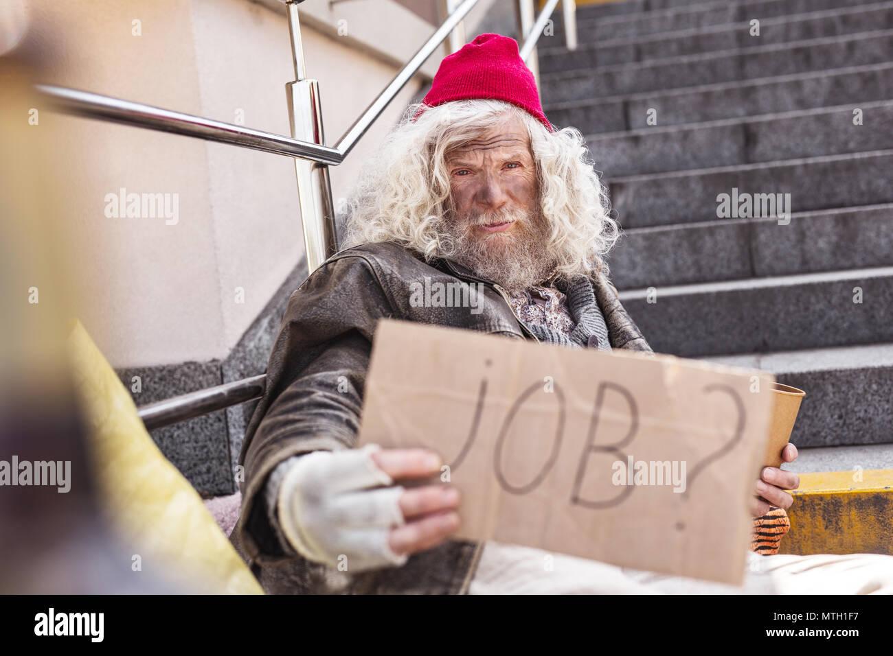 Grave povero che necessitano di un lavoro Immagini Stock