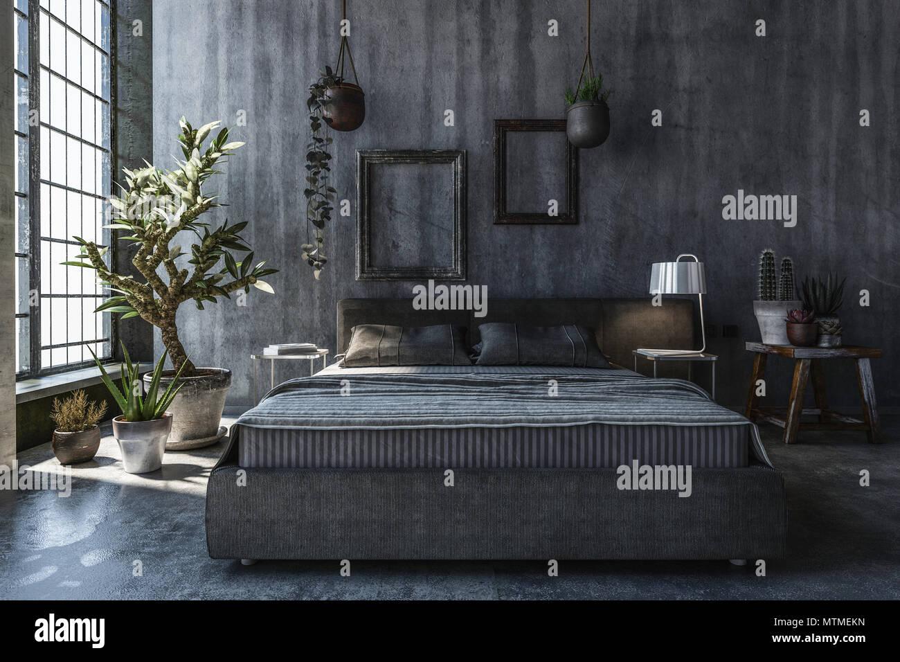 Camera da letto con pareti grigie. Concetto di design ...