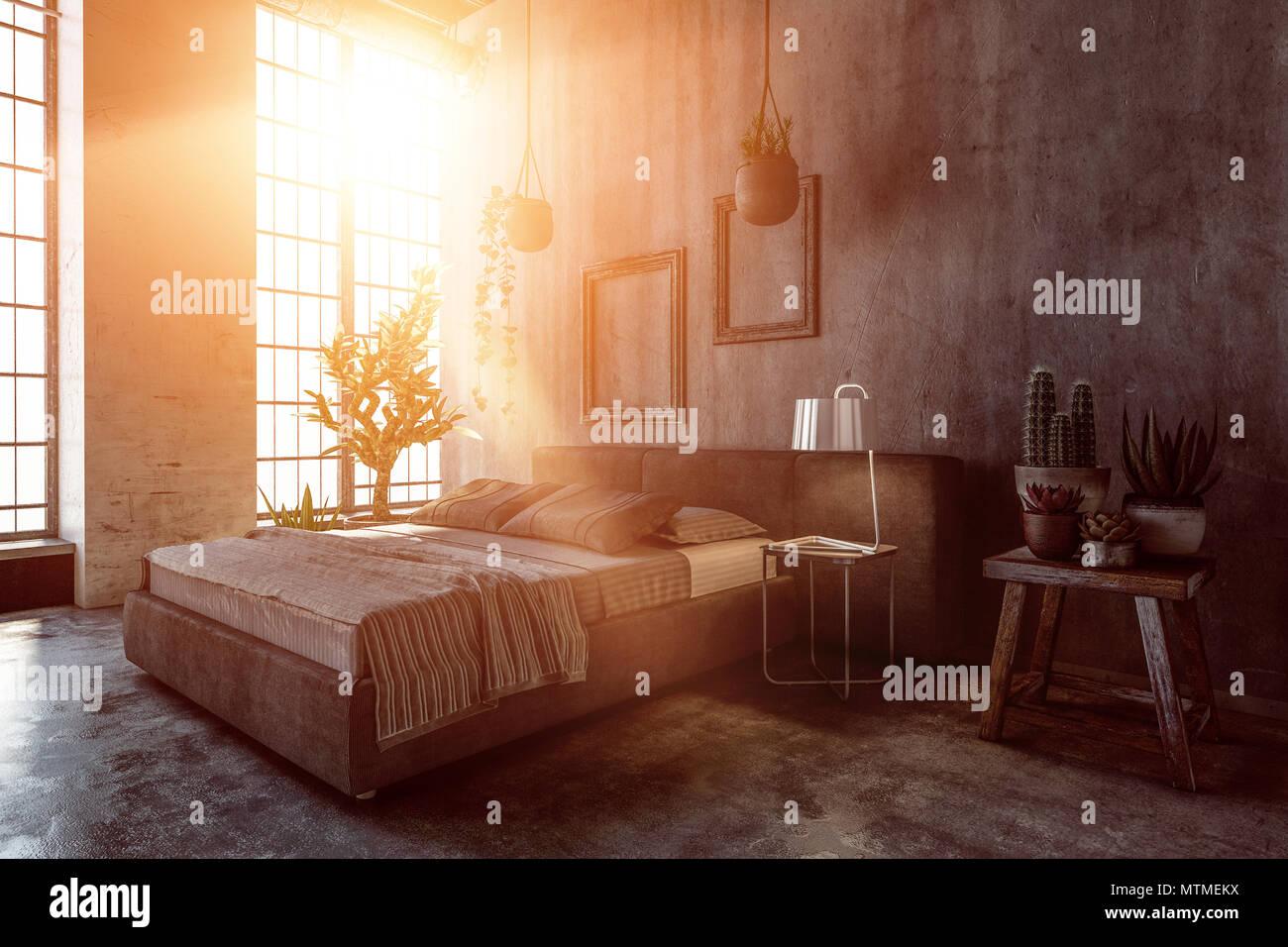 Pianta Camera Da Letto Matrimoniale : Camera da letto interni con luce calda attraverso grandi finestre